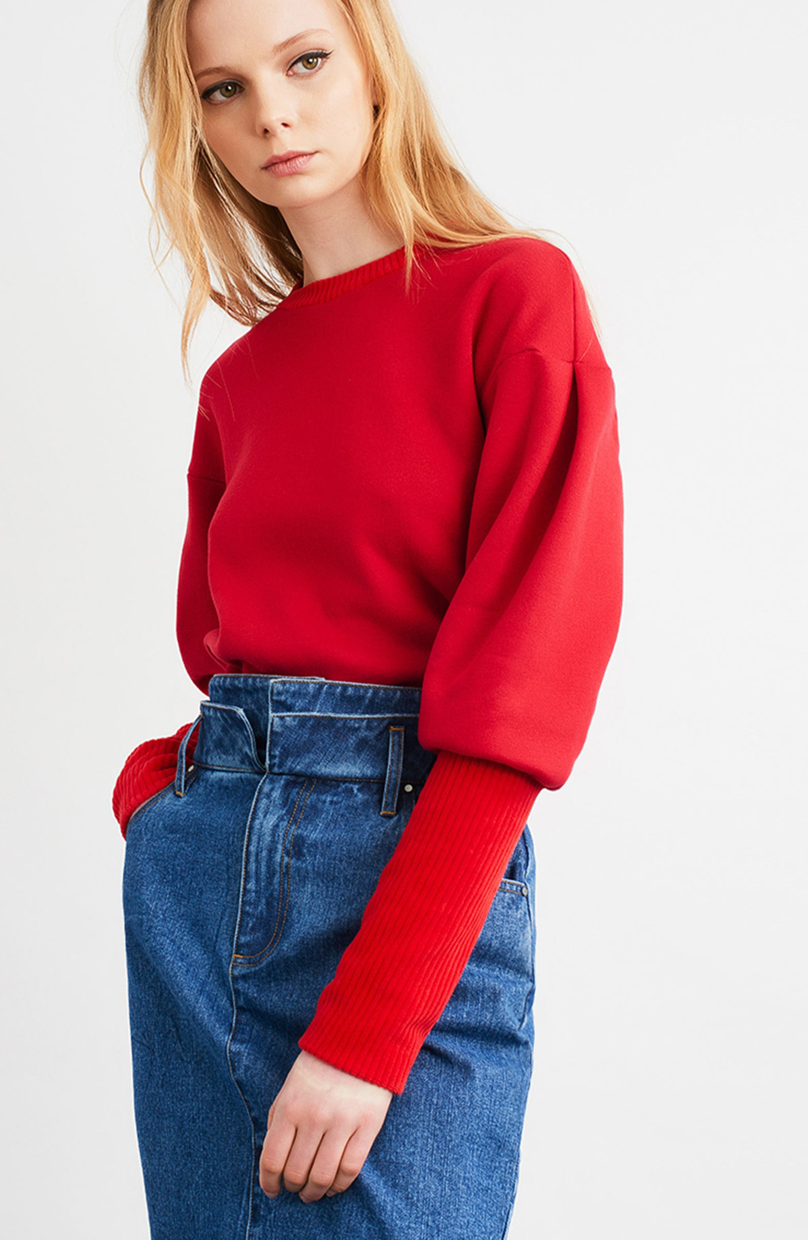 Rib Cuff Sweater,                             Alternate thumbnail 2, color,                             Red