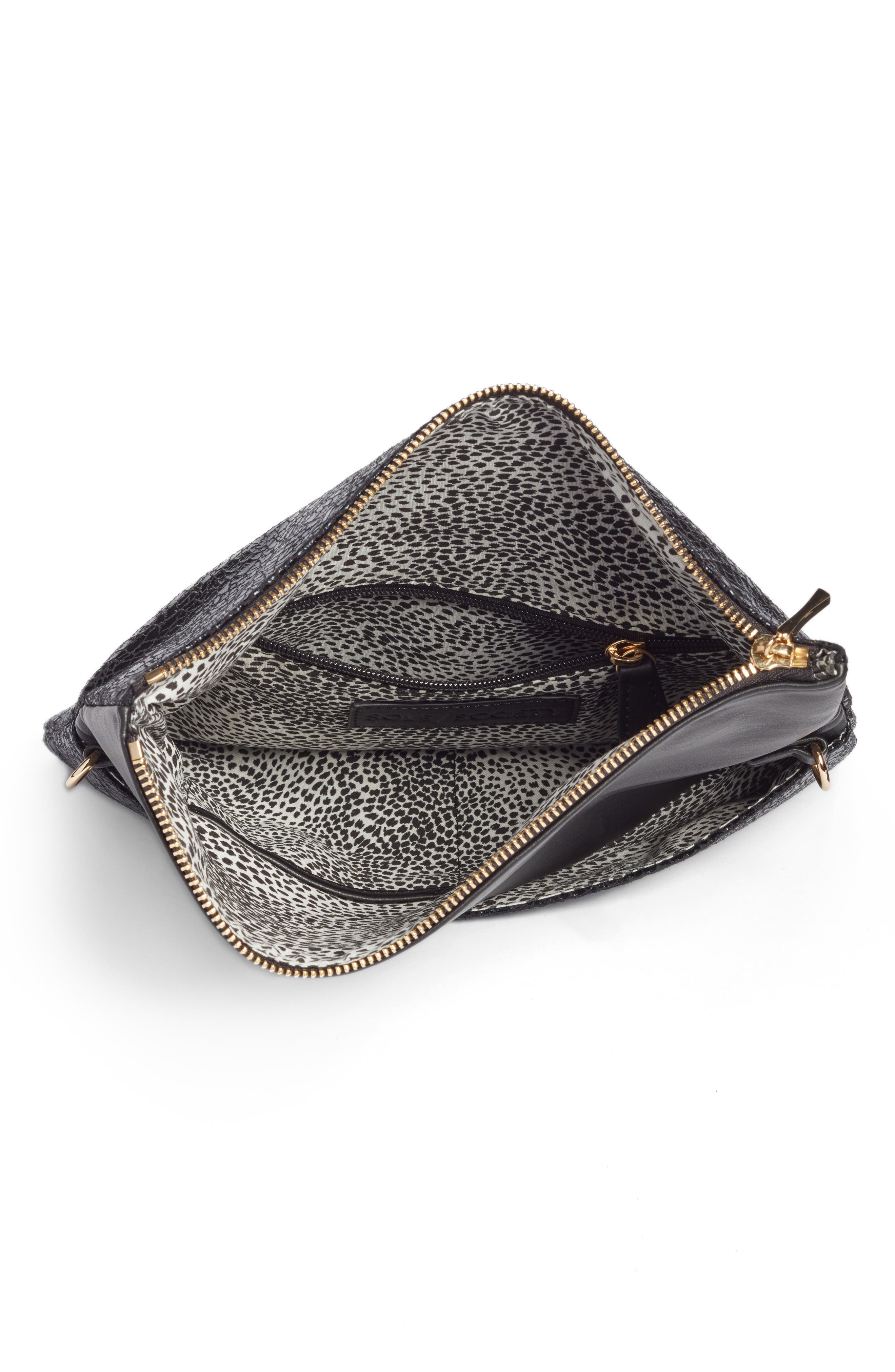 Alternate Image 4  - Sole Society Black Crackle Faux Leather Foldover Clutch