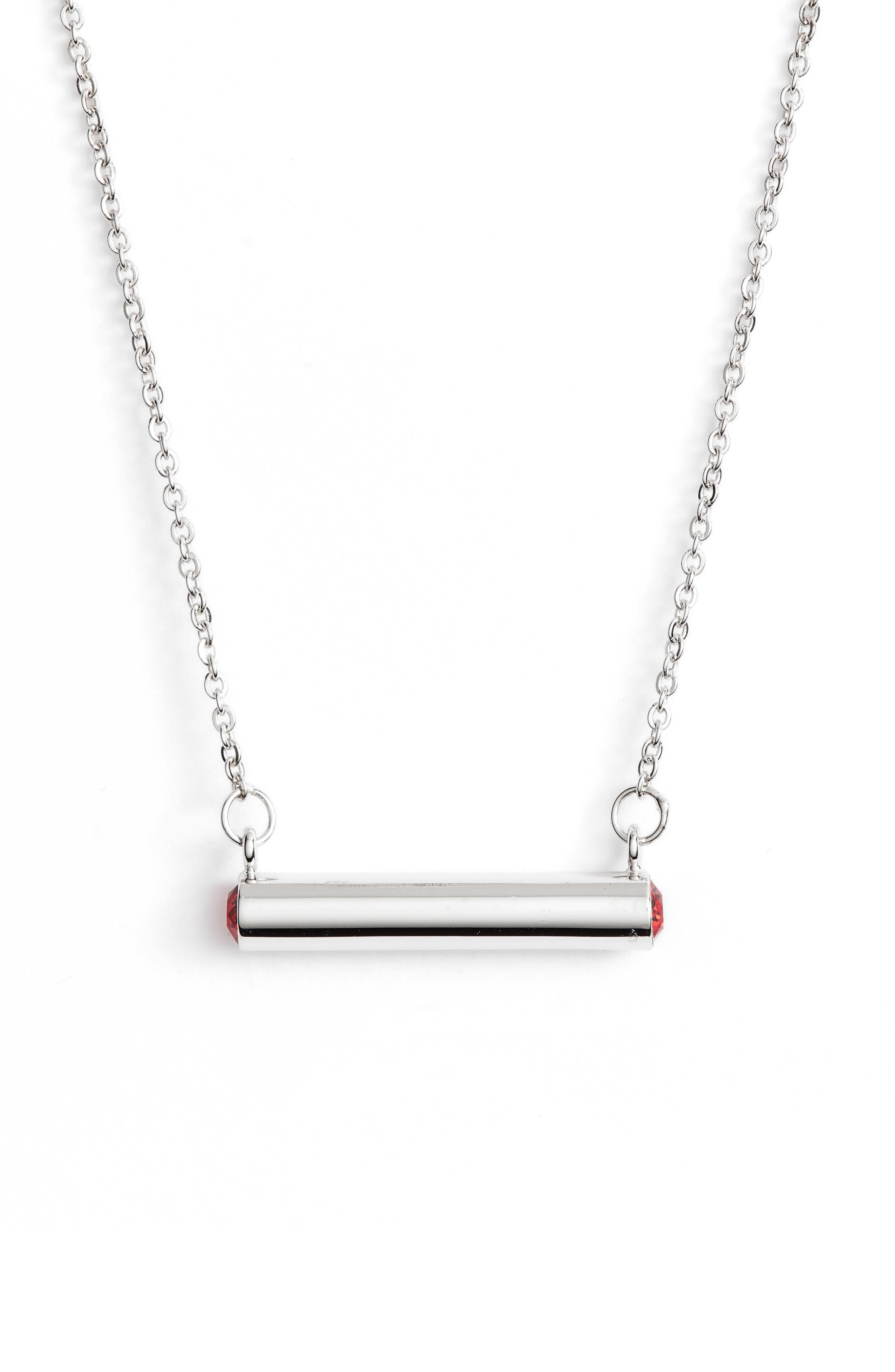 July Crystal Bar Pendant Necklace,                         Main,                         color, Silver