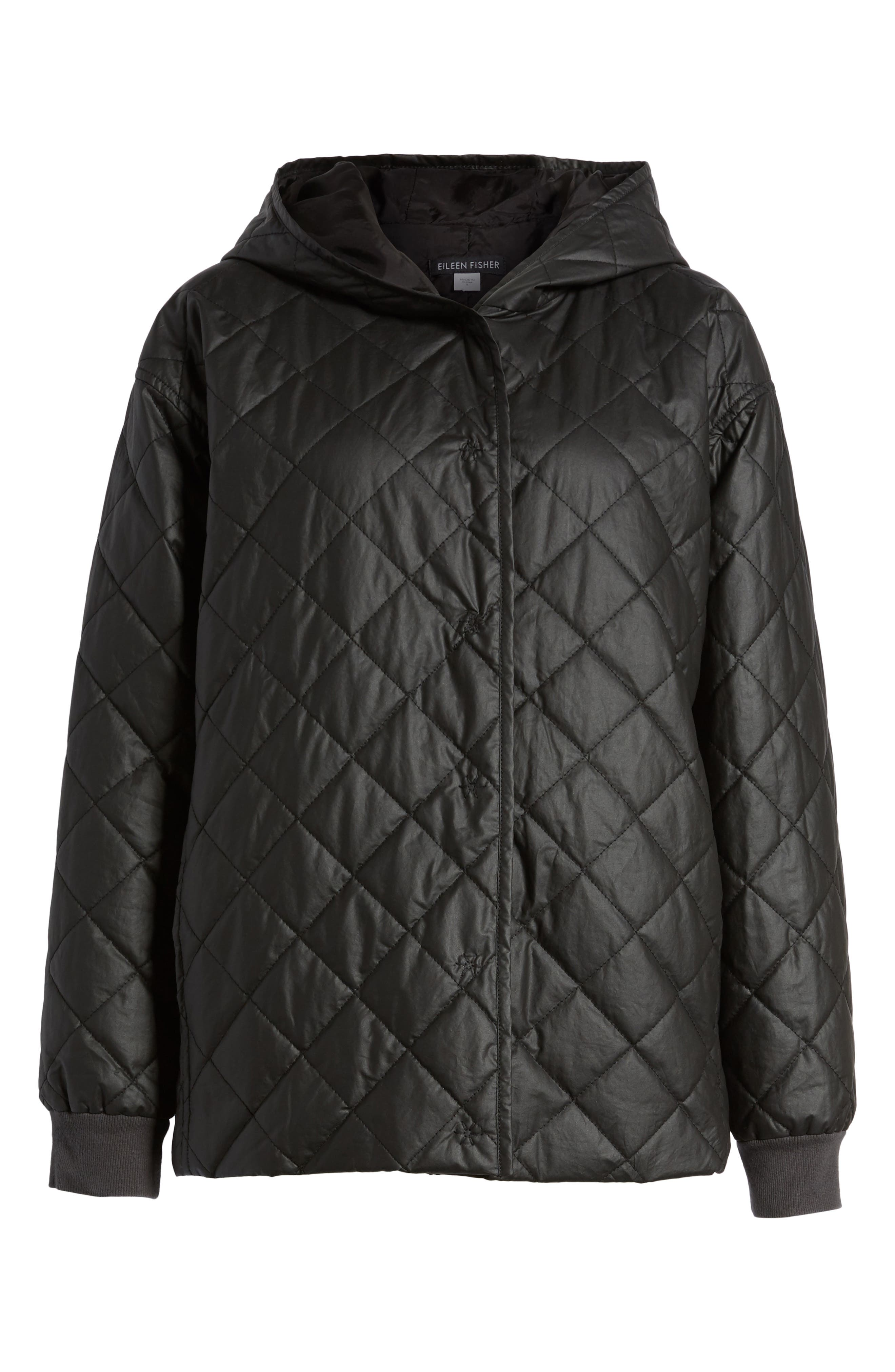 Quilted Hooded Jacket,                             Alternate thumbnail 6, color,                             Black