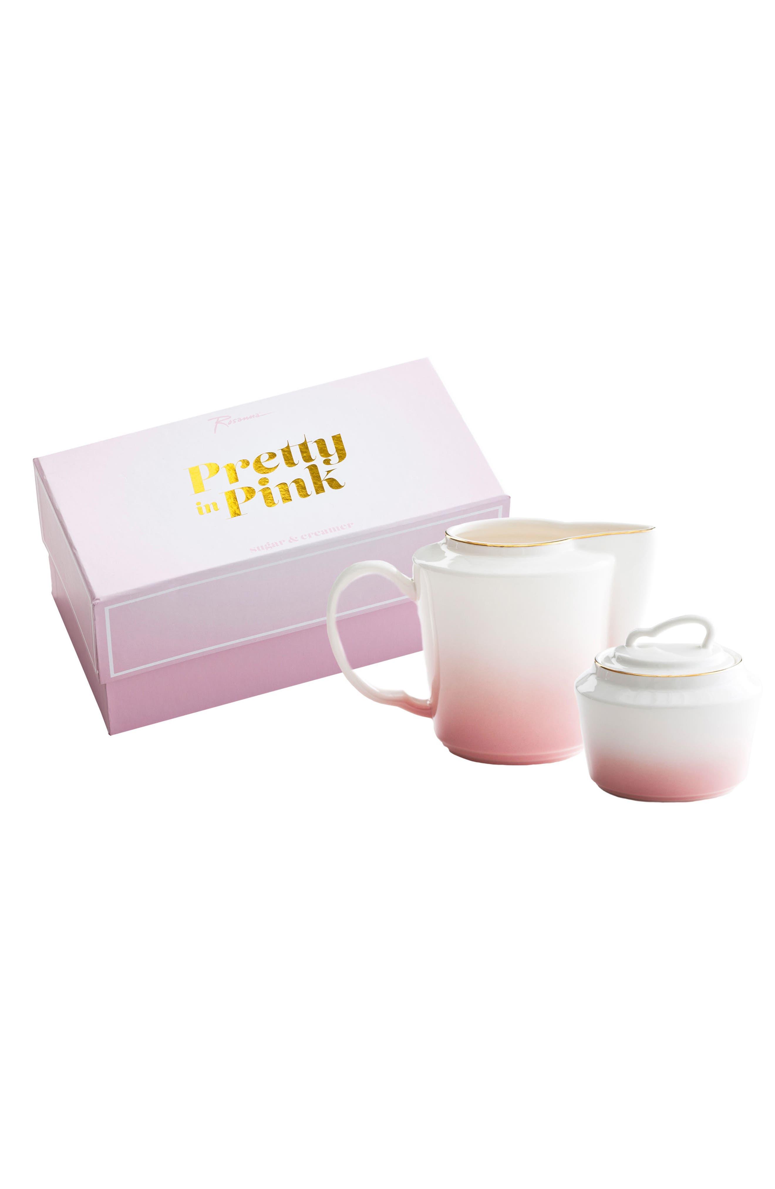 Pretty In Pink Porcelain Creamer & Sugar Bowl Set,                         Main,                         color, Pink/ White
