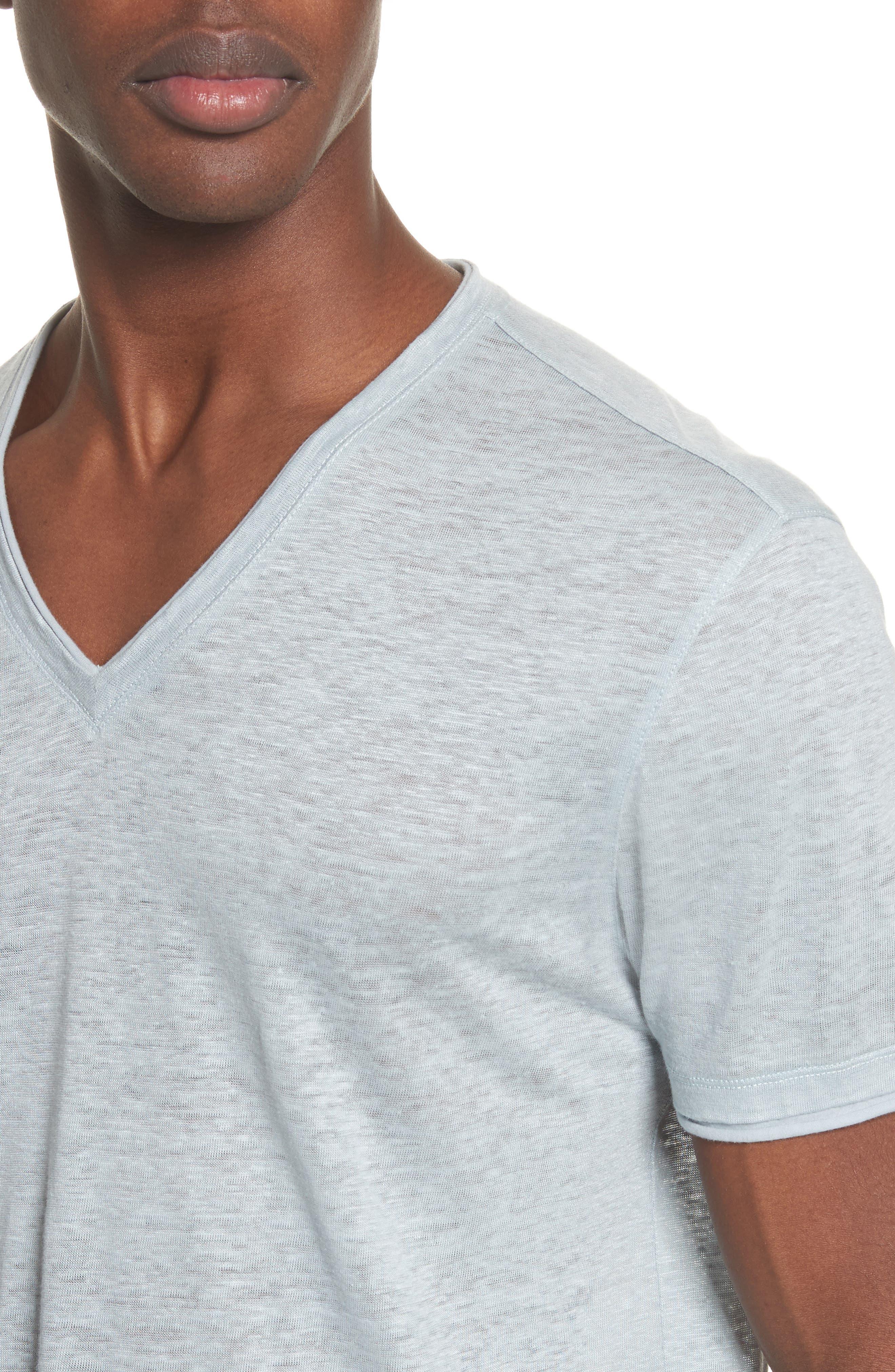 Linen V-Neck T-Shirt,                             Alternate thumbnail 4, color,                             Powder Blue