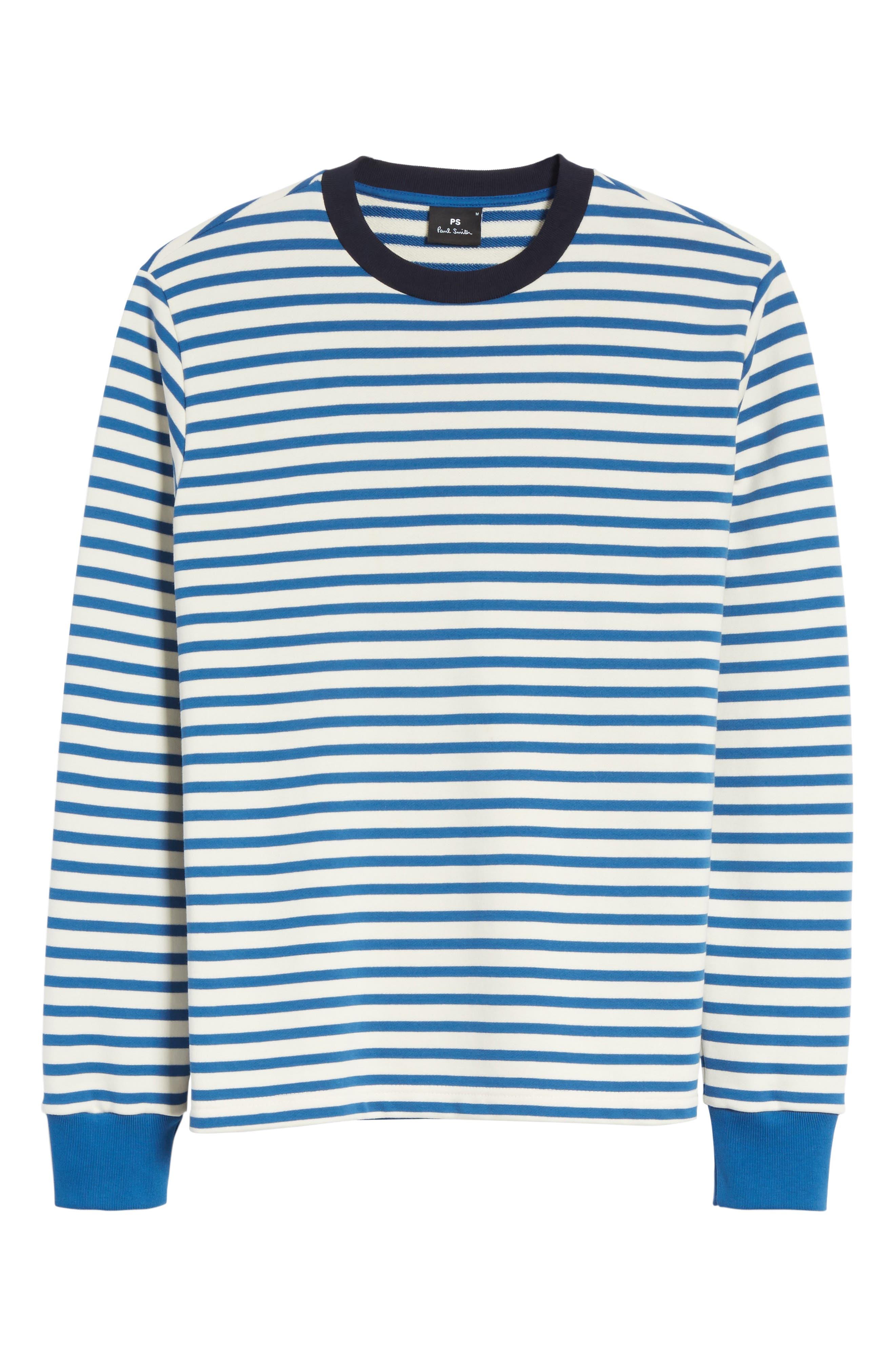Stripe Crewneck Sweatshirt,                             Alternate thumbnail 6, color,                             Indigo