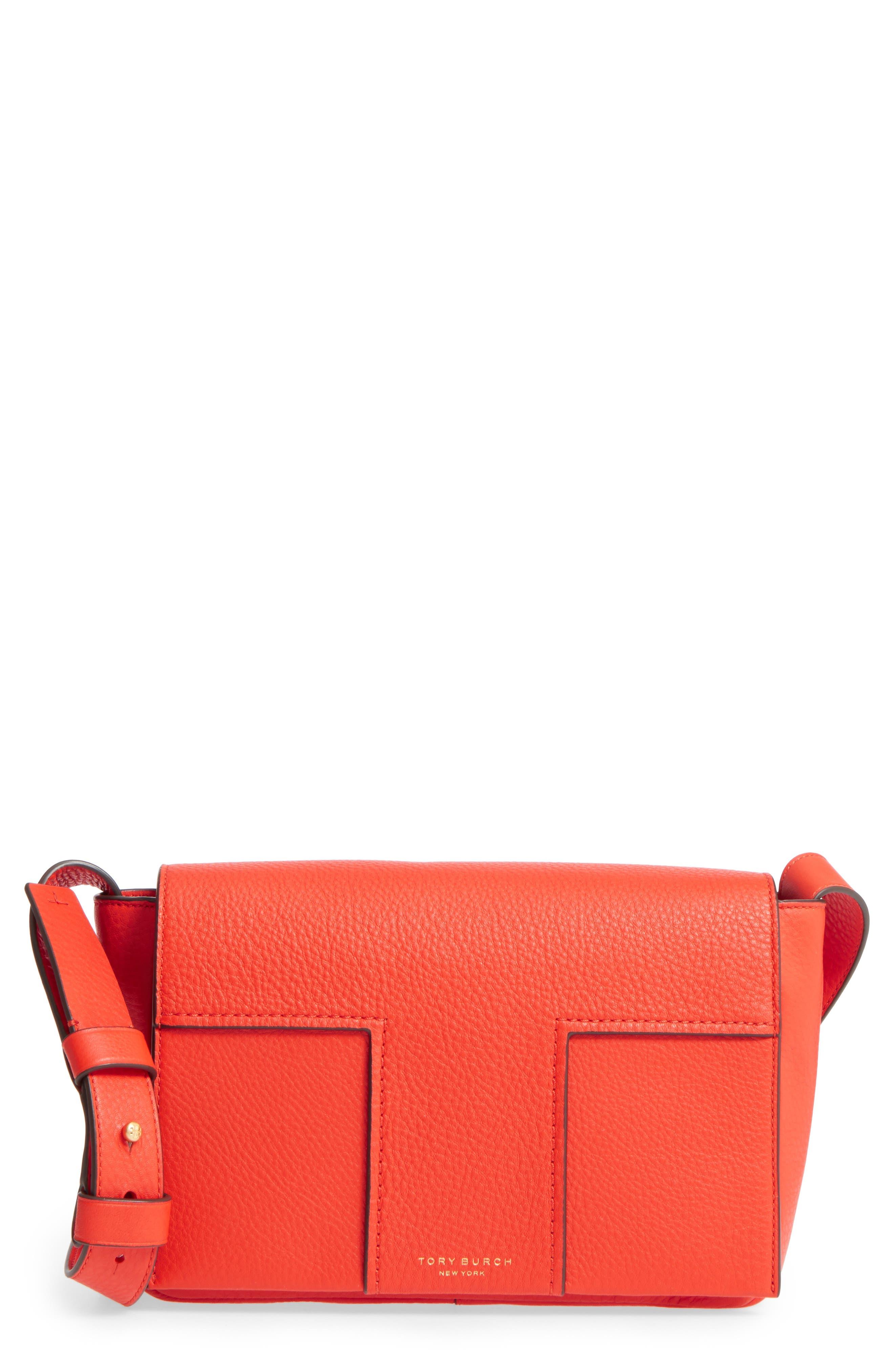 Block-T Pebbled Leather Shoulder Bag,                             Main thumbnail 1, color,                             Spicy Orange