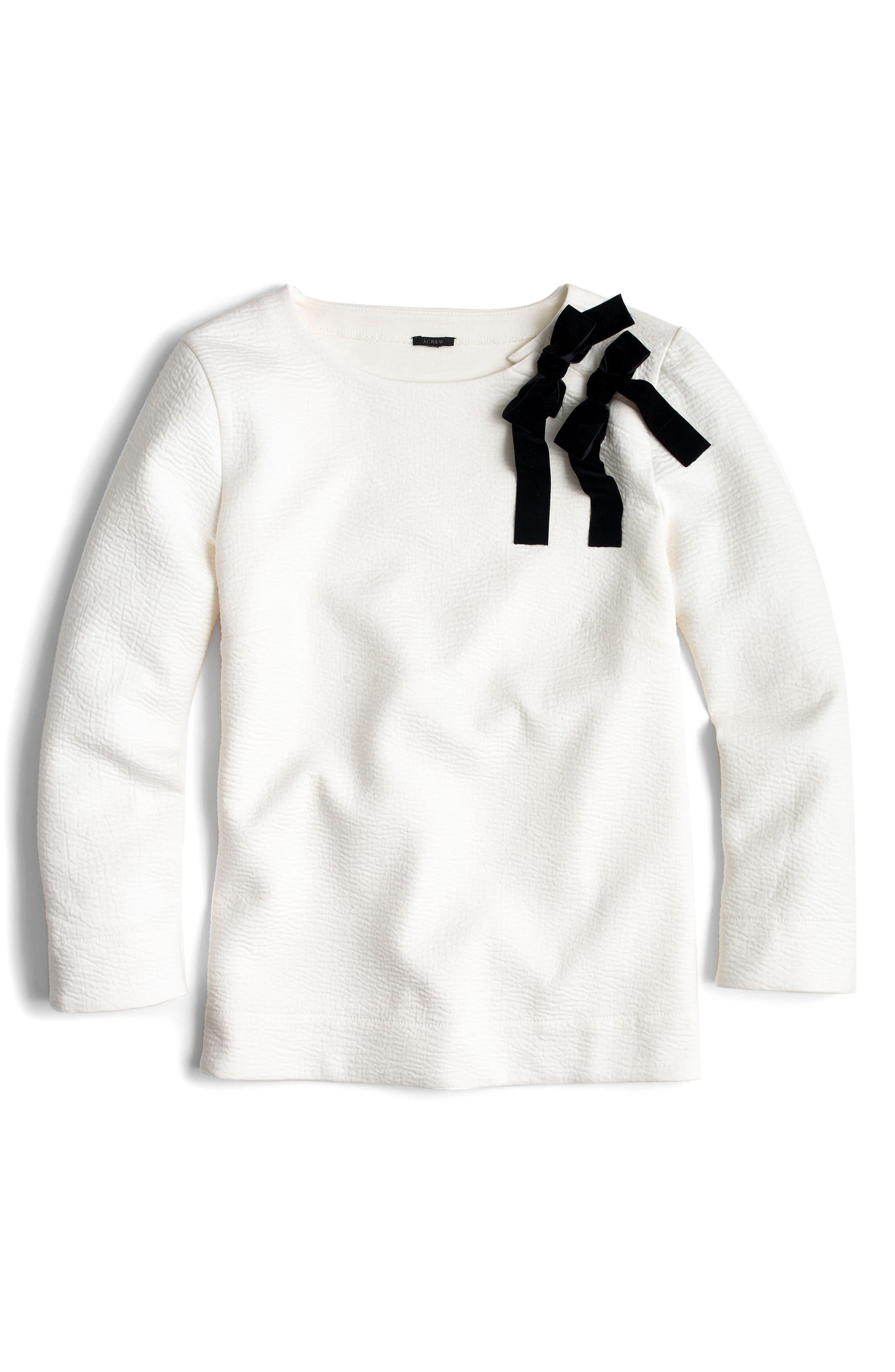 Double Bow Sweatshirt,                         Main,                         color, Ivory