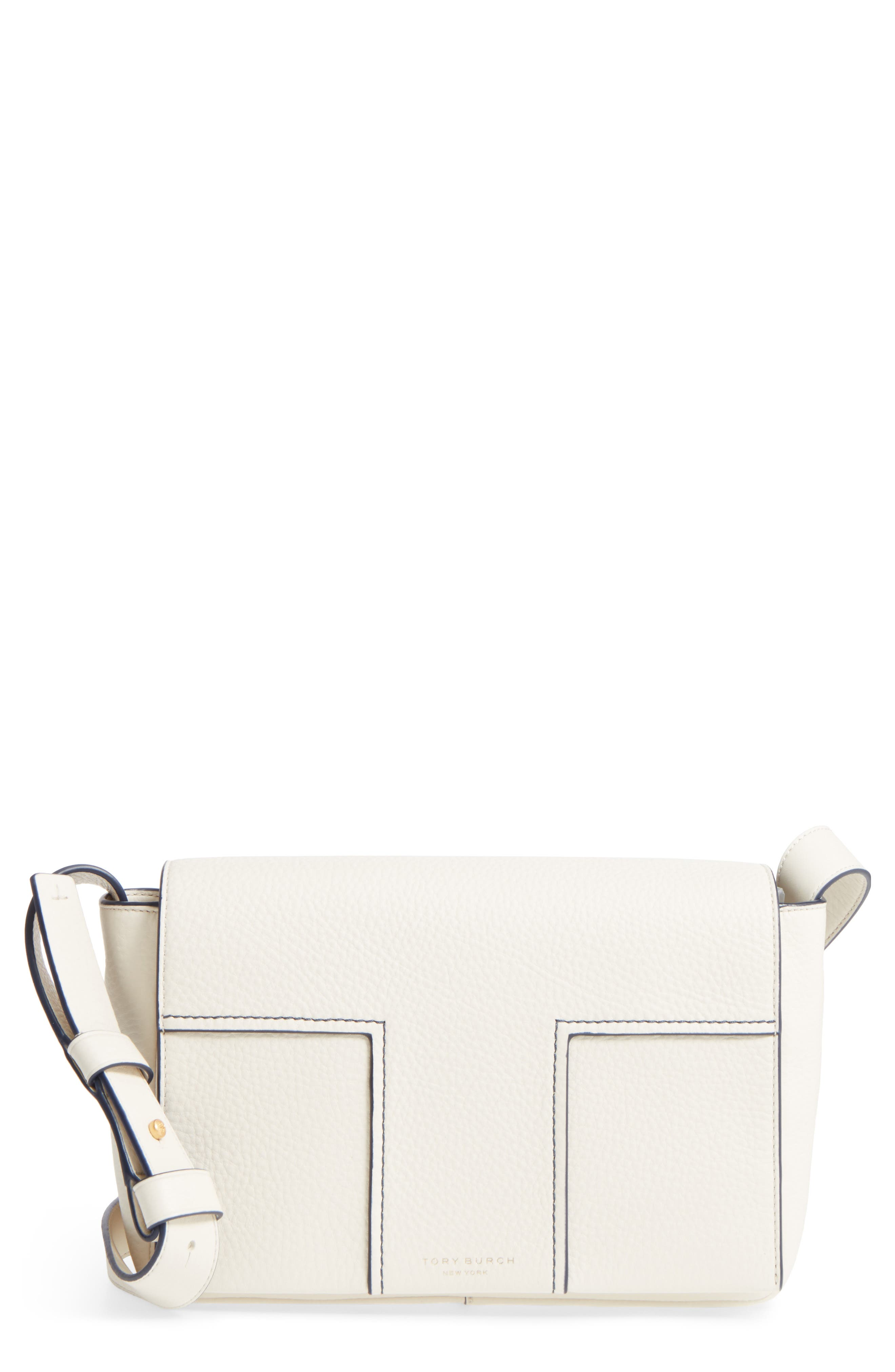 Tory Burch Block-T Pebbled Leather Shoulder Bag