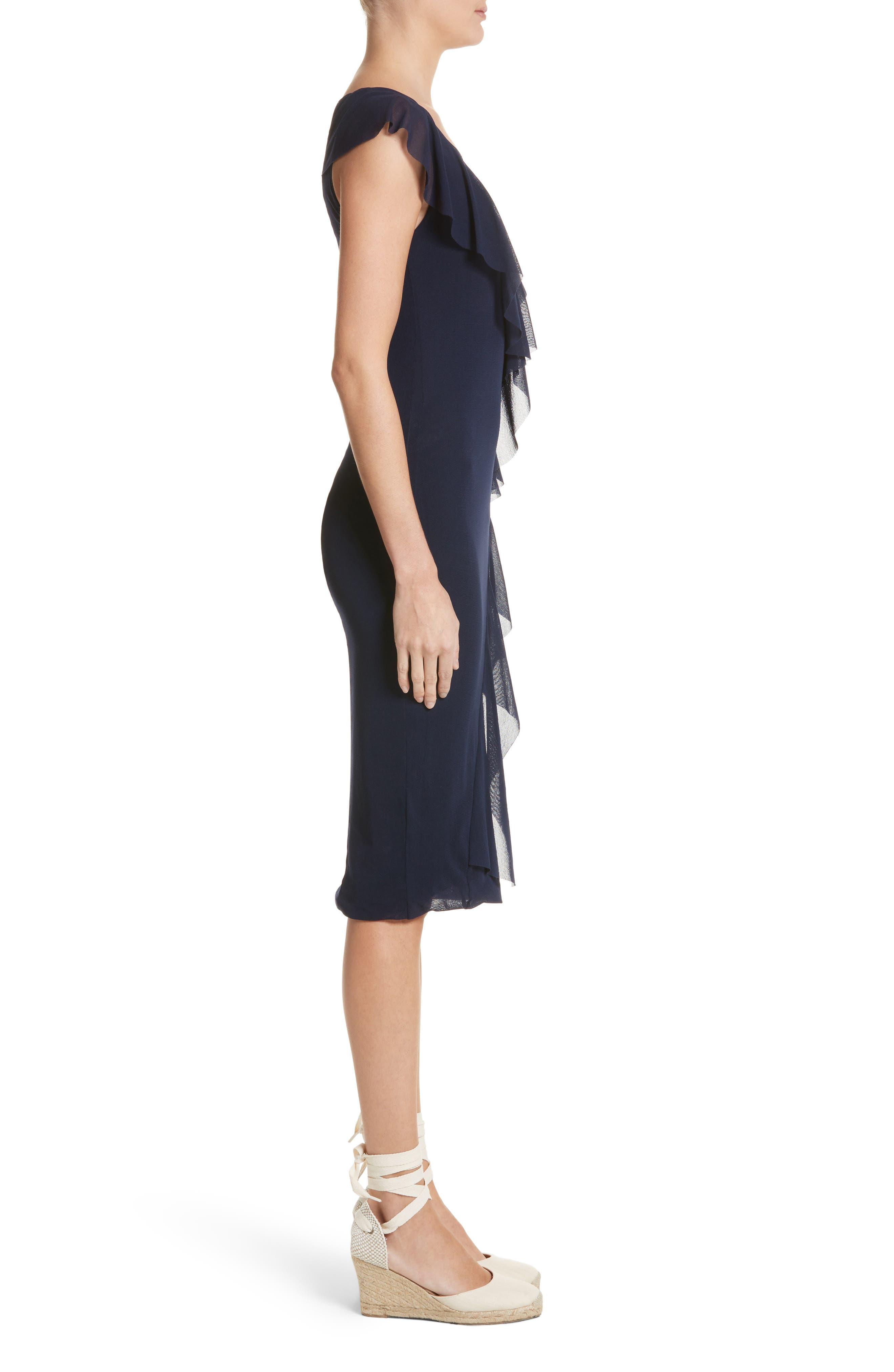 Ruffle V-Neck Body-Con Dress,                             Alternate thumbnail 3, color,                             Zaffiro