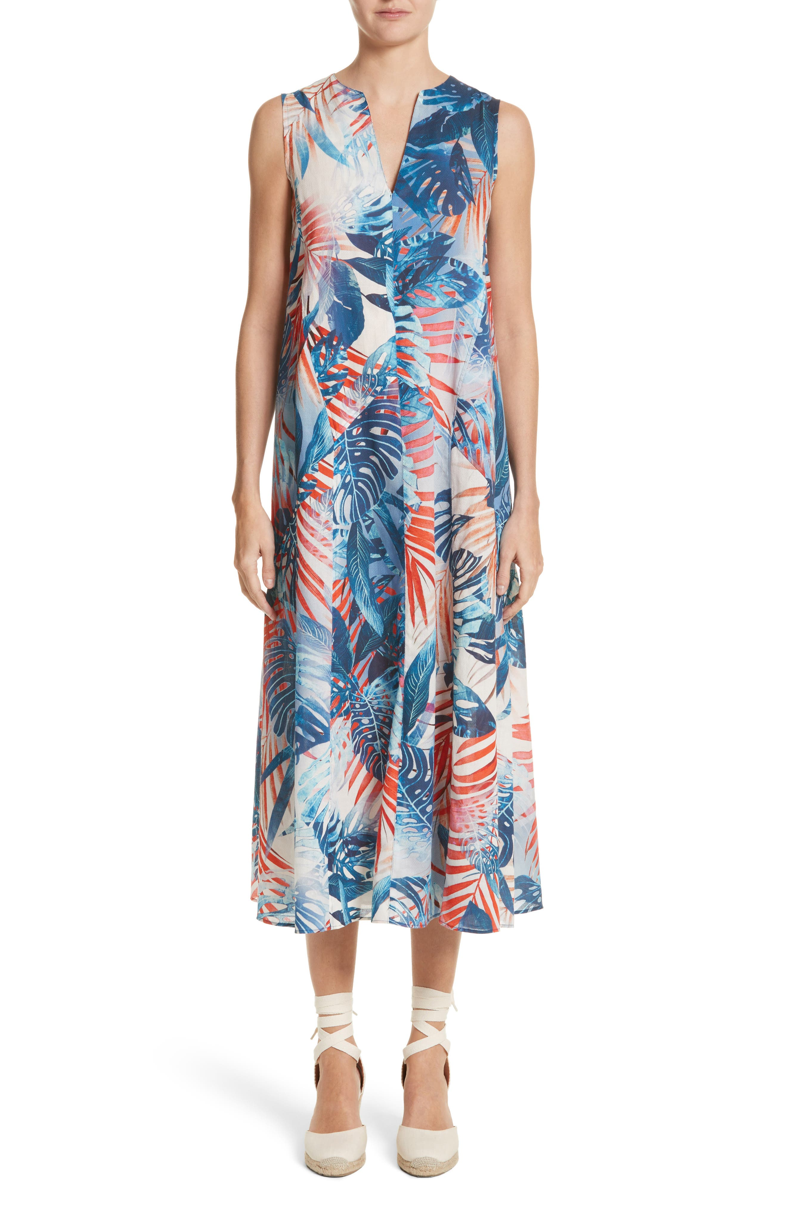Fuzzi Print Cotton Midi Dress