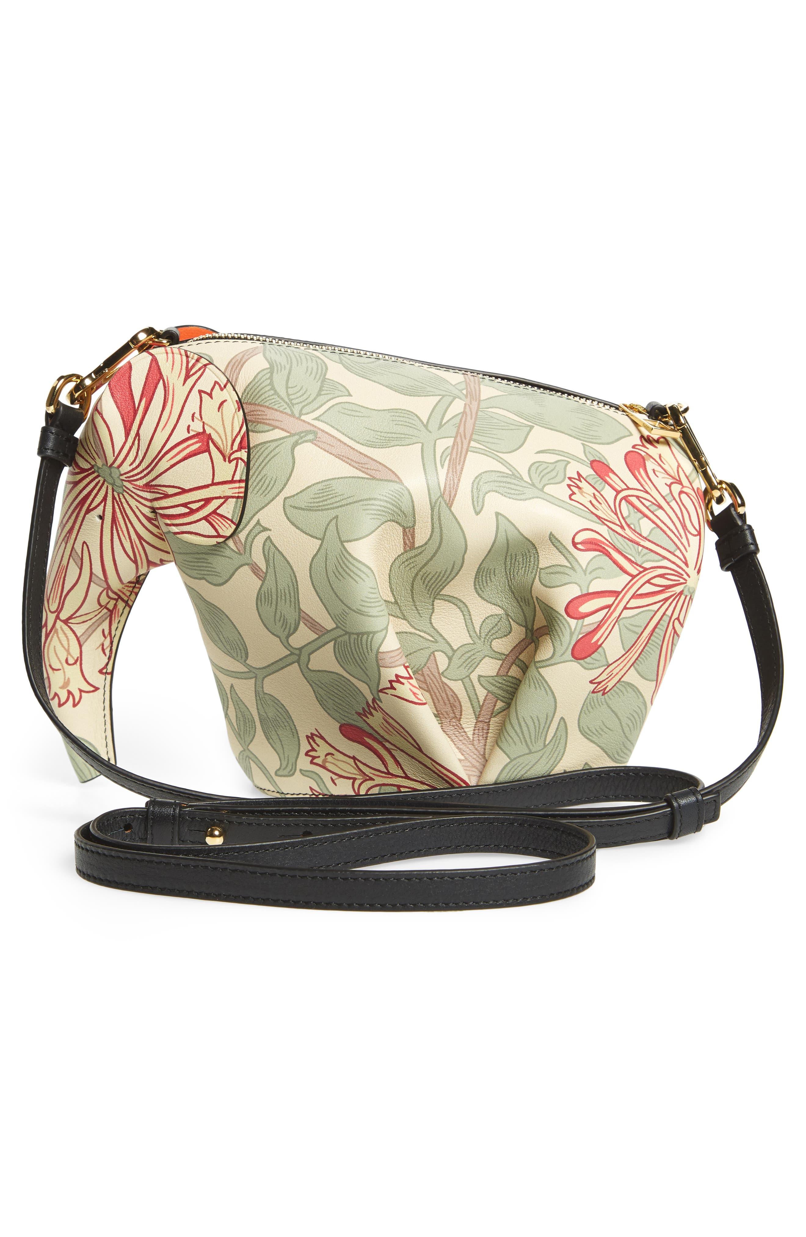 Mini Elephant Honeysuckle Print Leather Crossbody Bag,                             Alternate thumbnail 3, color,                             Beige/ Green/ Multicolour