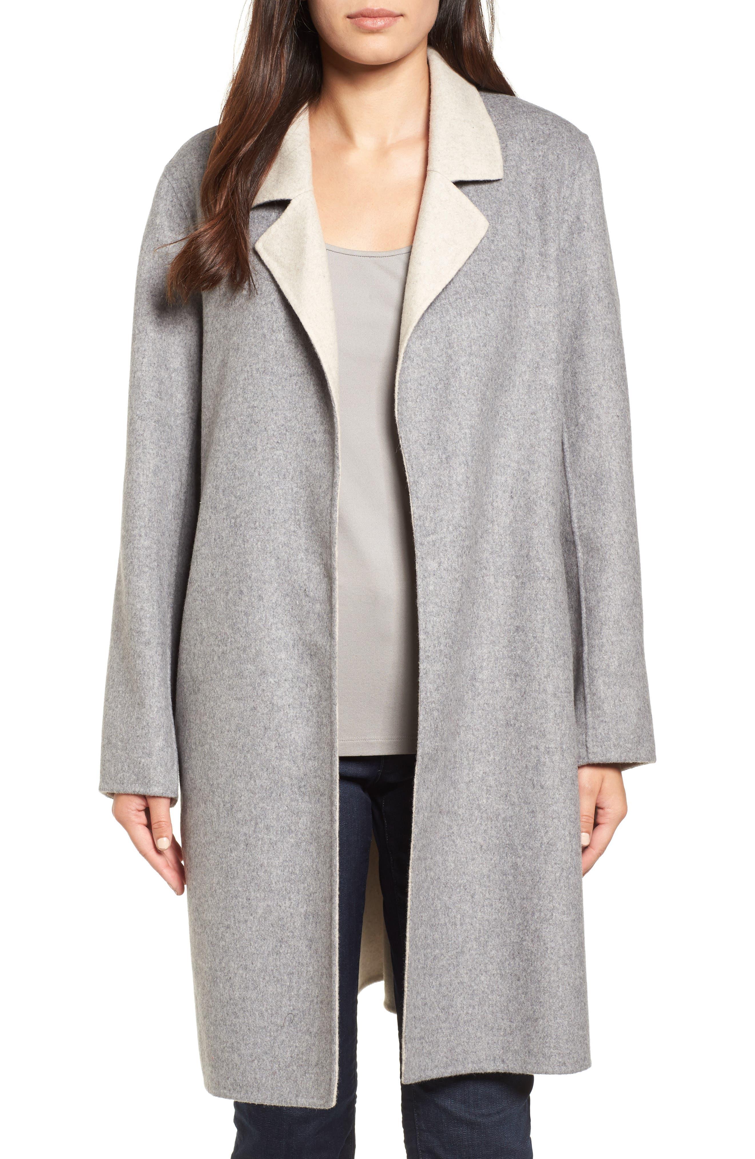 Eileen Fisher Notch Collar Long Wool Blend Jacket