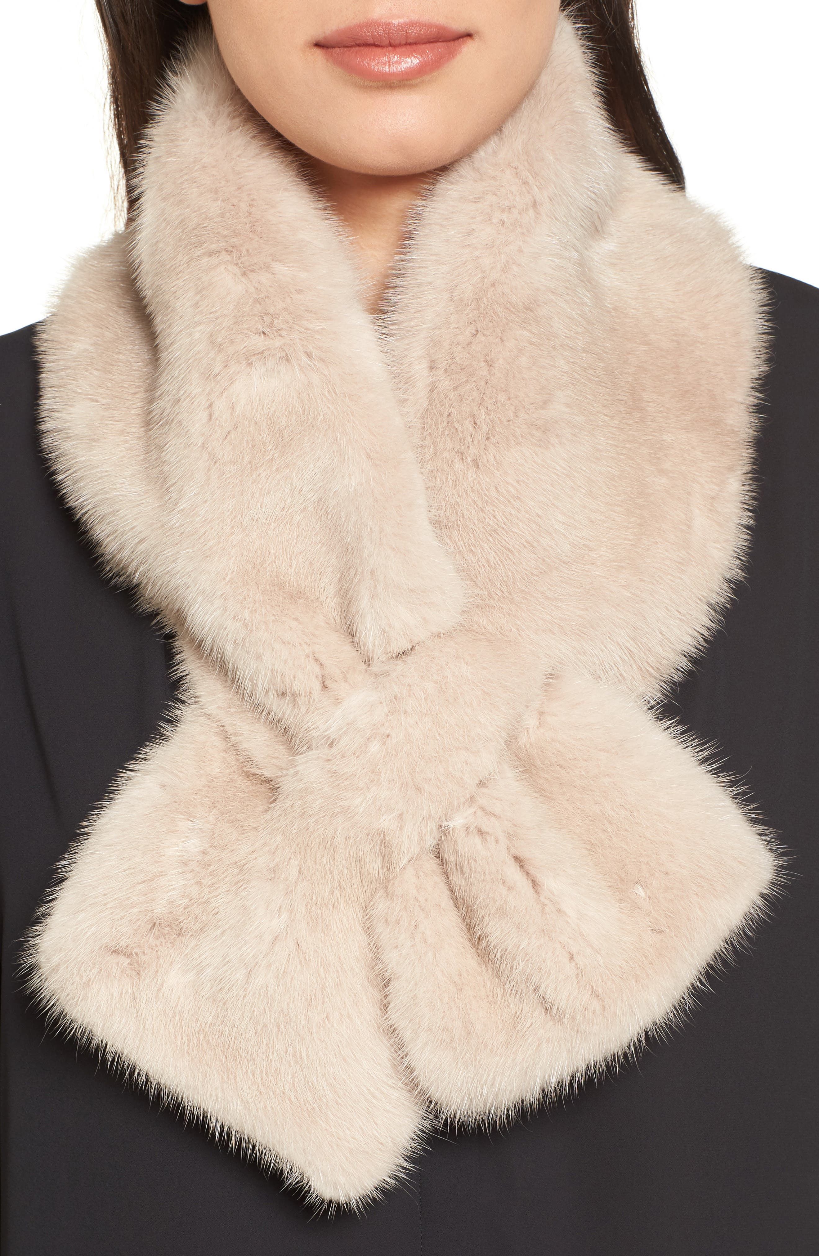 Genuine Mink Fur Collar,                         Main,                         color, Beige