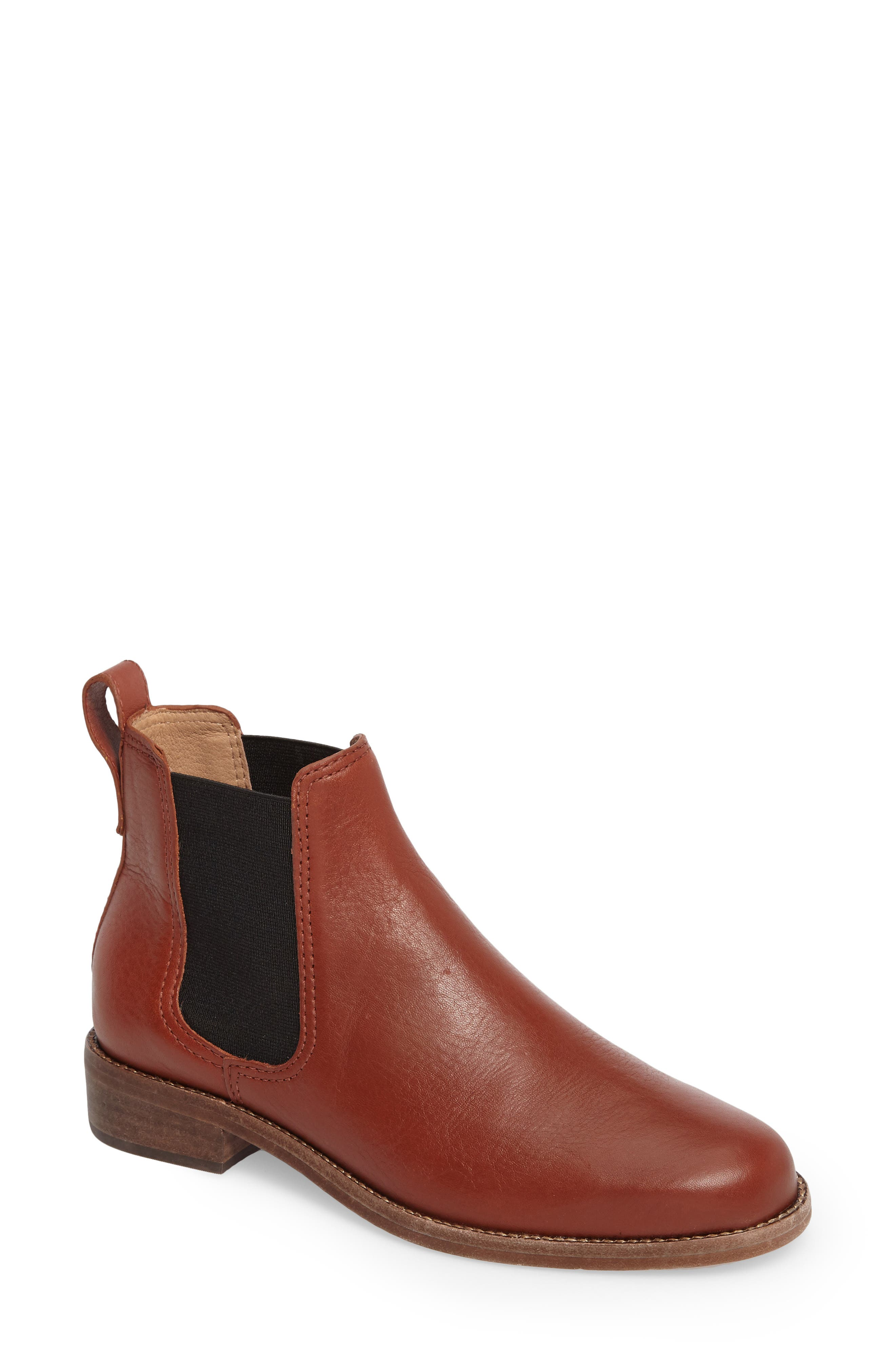 Ainsley Chelsea Boot,                         Main,                         color, Vintage Redwood Leather
