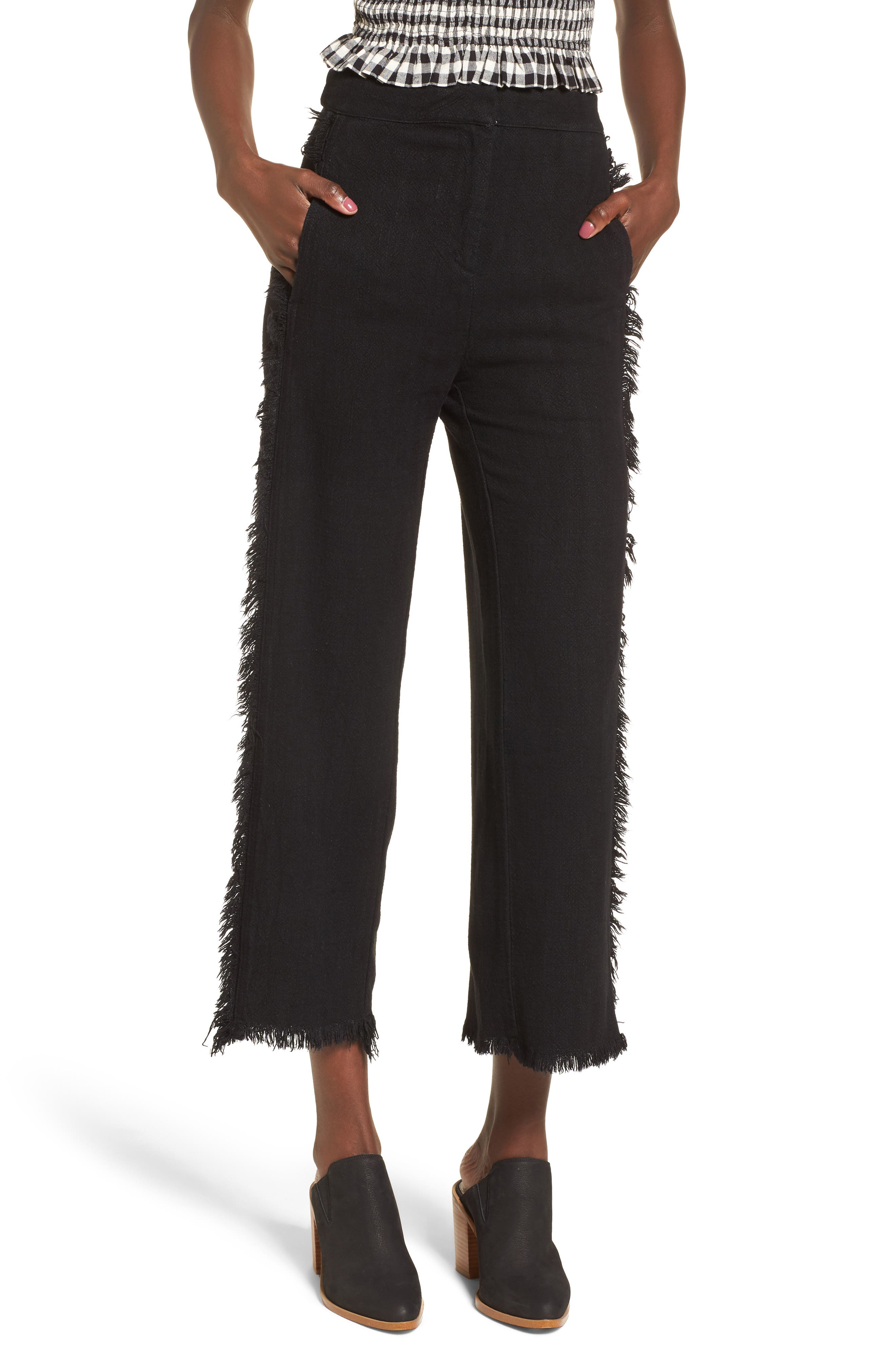 Fringe Trim Wide Leg Pants,                         Main,                         color, Black