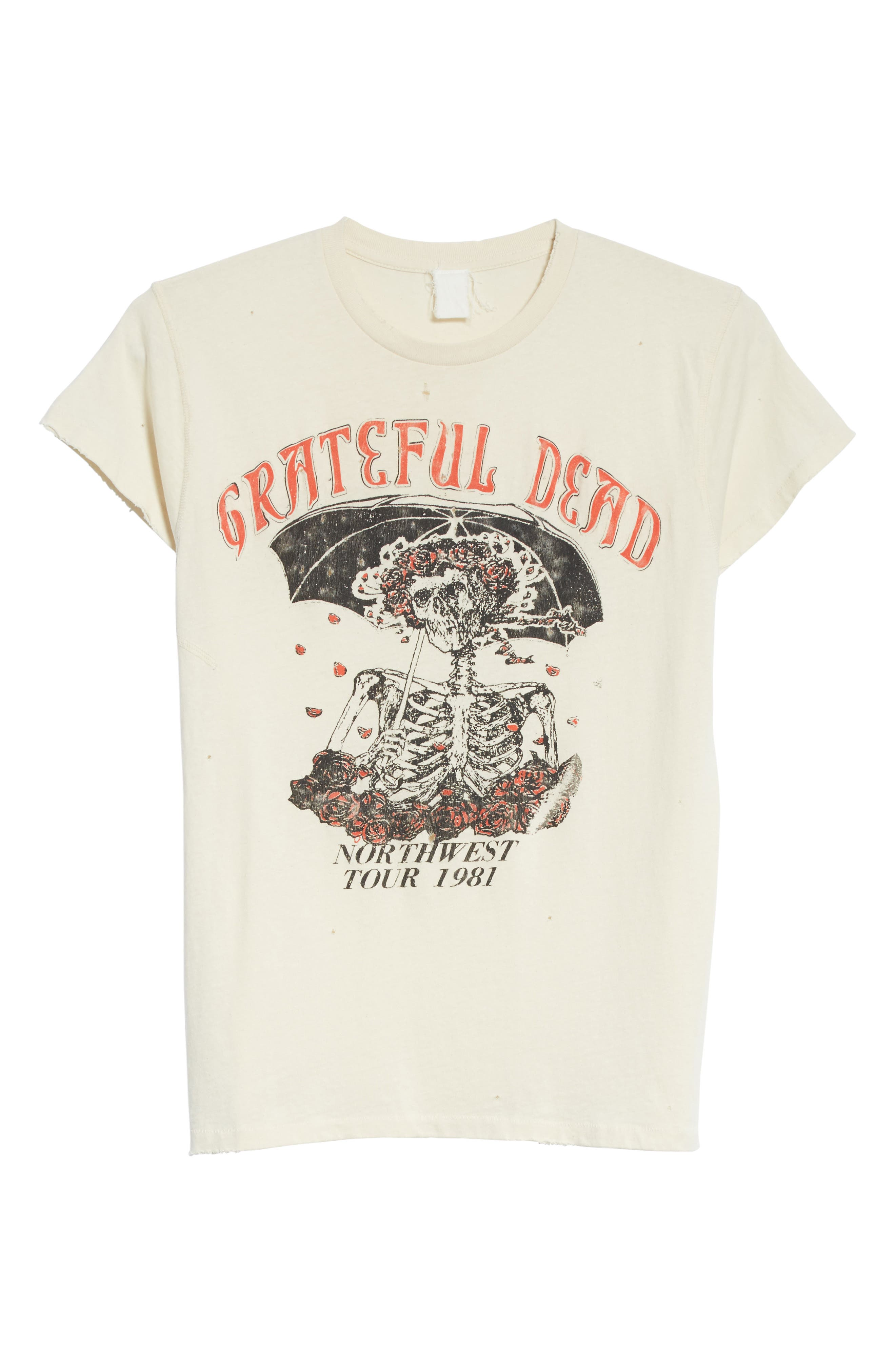 Grateful Dead Skeleton Graphic T-Shirt,                             Alternate thumbnail 6, color,                             Dirty White