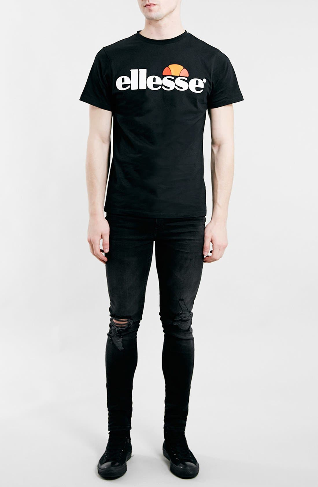 Alternate Image 2  - Topman Ripped Spray On Skinny Jeans (Black)