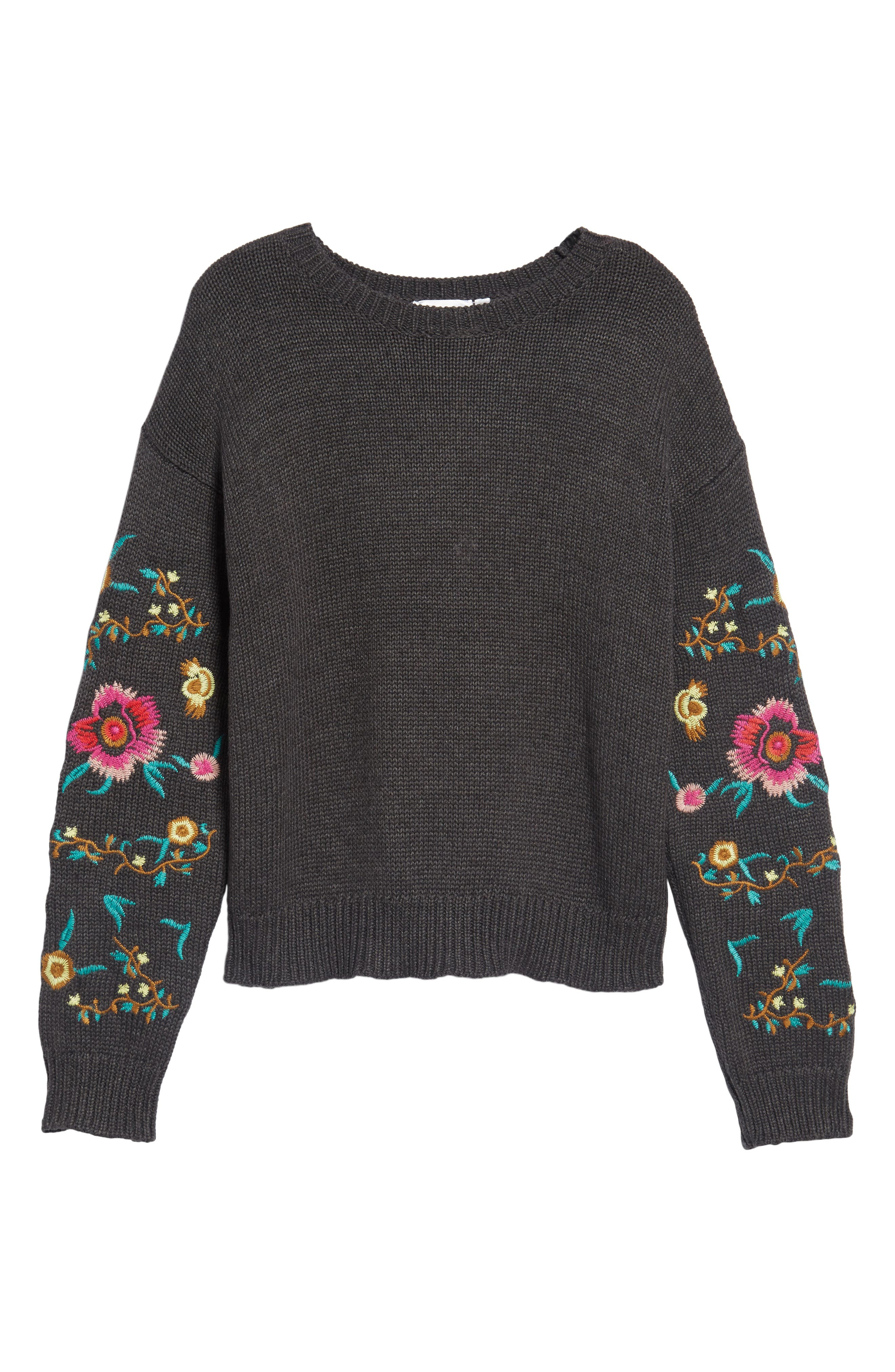 Floral Sleeve Sweater,                             Alternate thumbnail 6, color,                             Grey