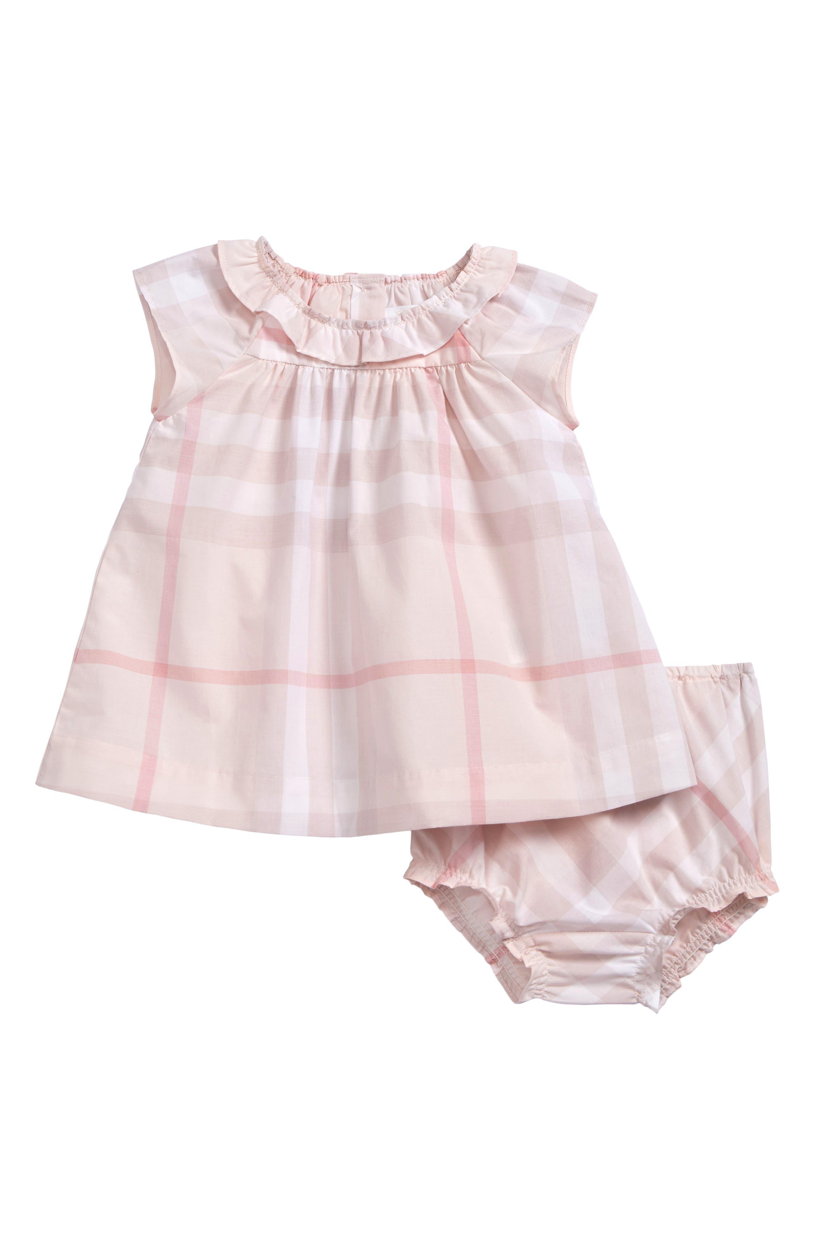 Main Image - Burberry Emerald Check Print Dress (Baby Girls)