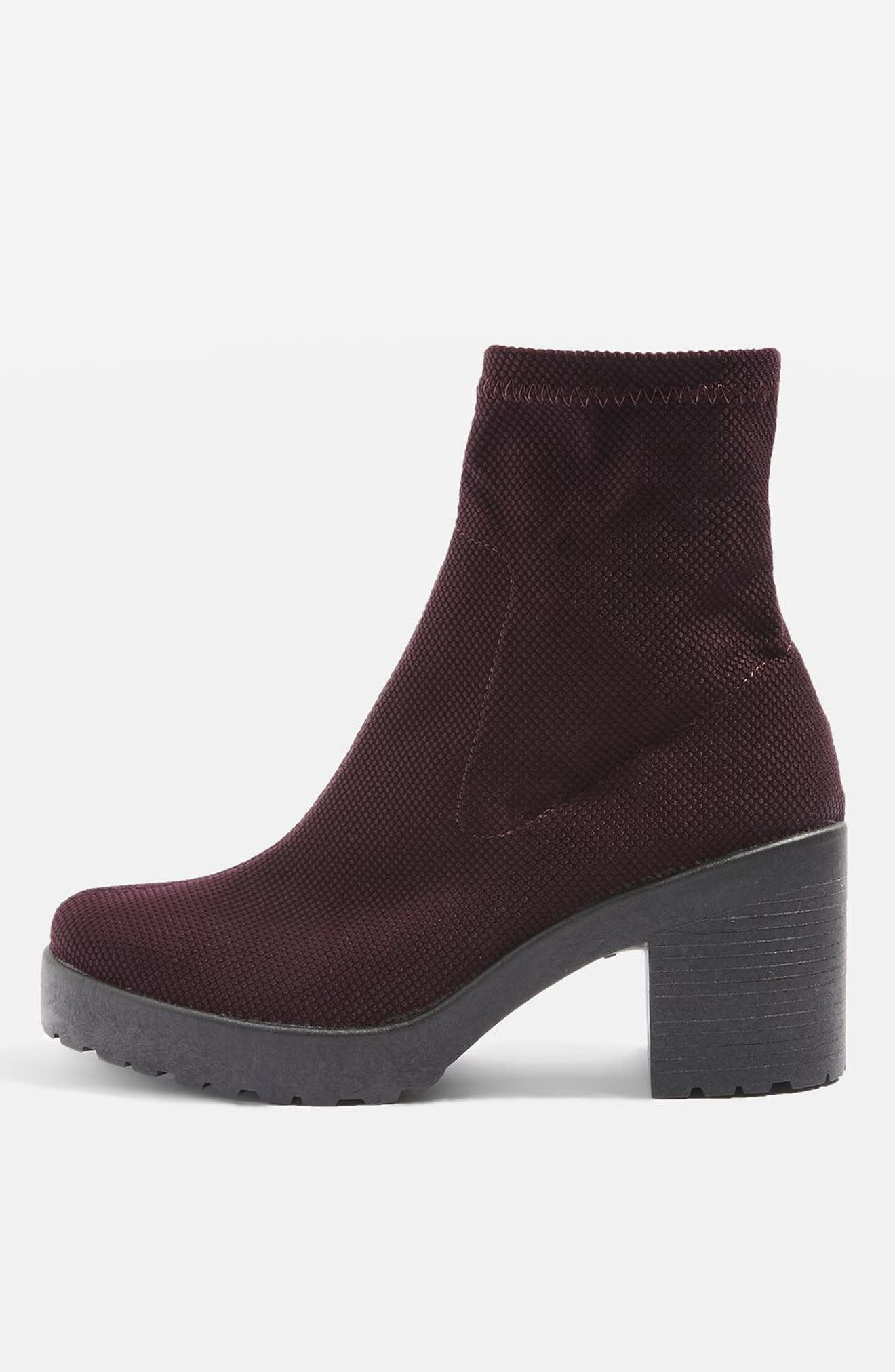 Brick Knit Sock Bootie,                             Alternate thumbnail 2, color,                             Burgundy