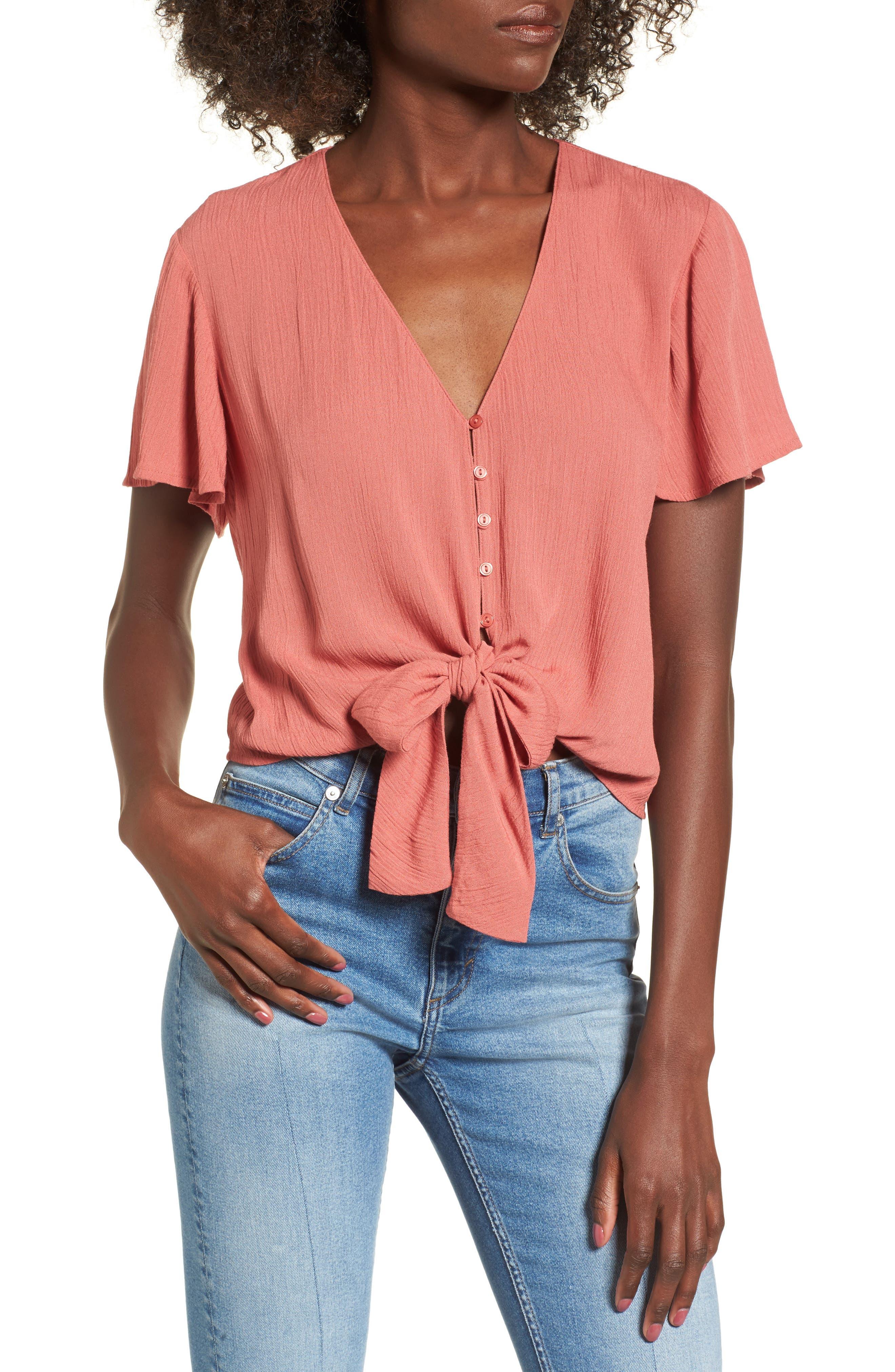 Knot Front Shirt,                         Main,                         color, Fall Cinnamon