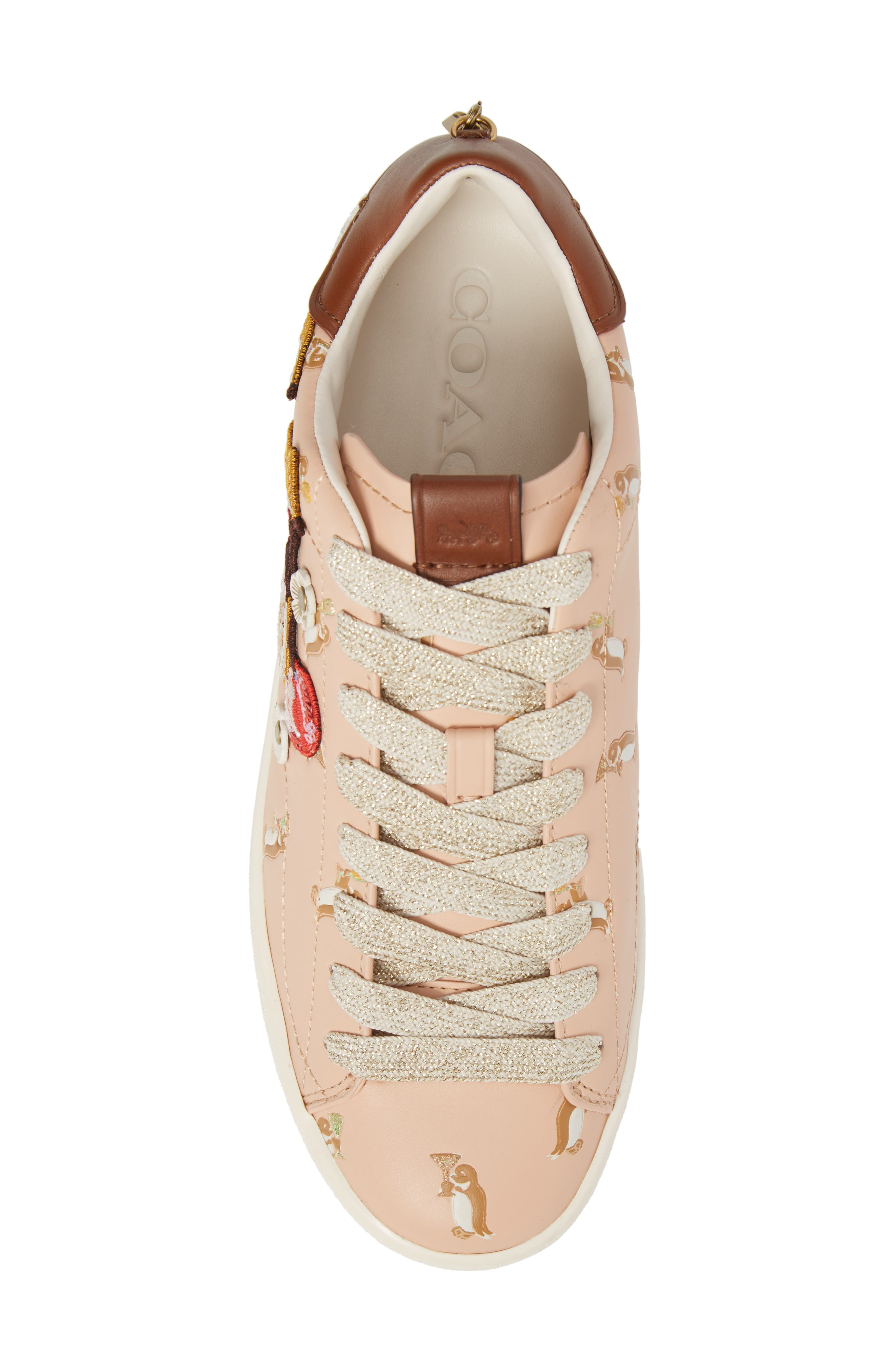 Patch Sneaker,                             Alternate thumbnail 5, color,                             Light Pink Leather