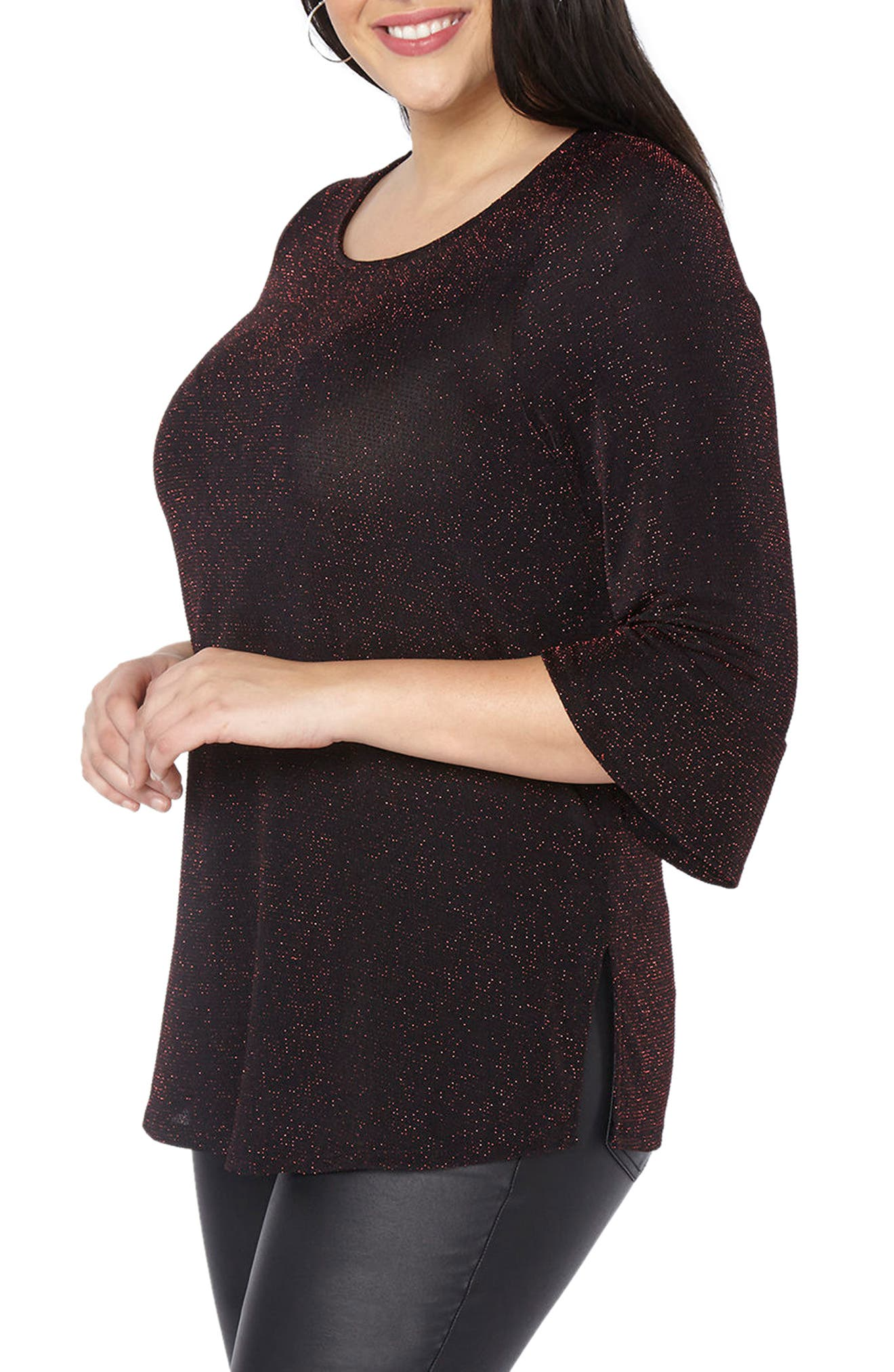 Glitter Bell Sleeve Top,                             Alternate thumbnail 3, color,                             Red