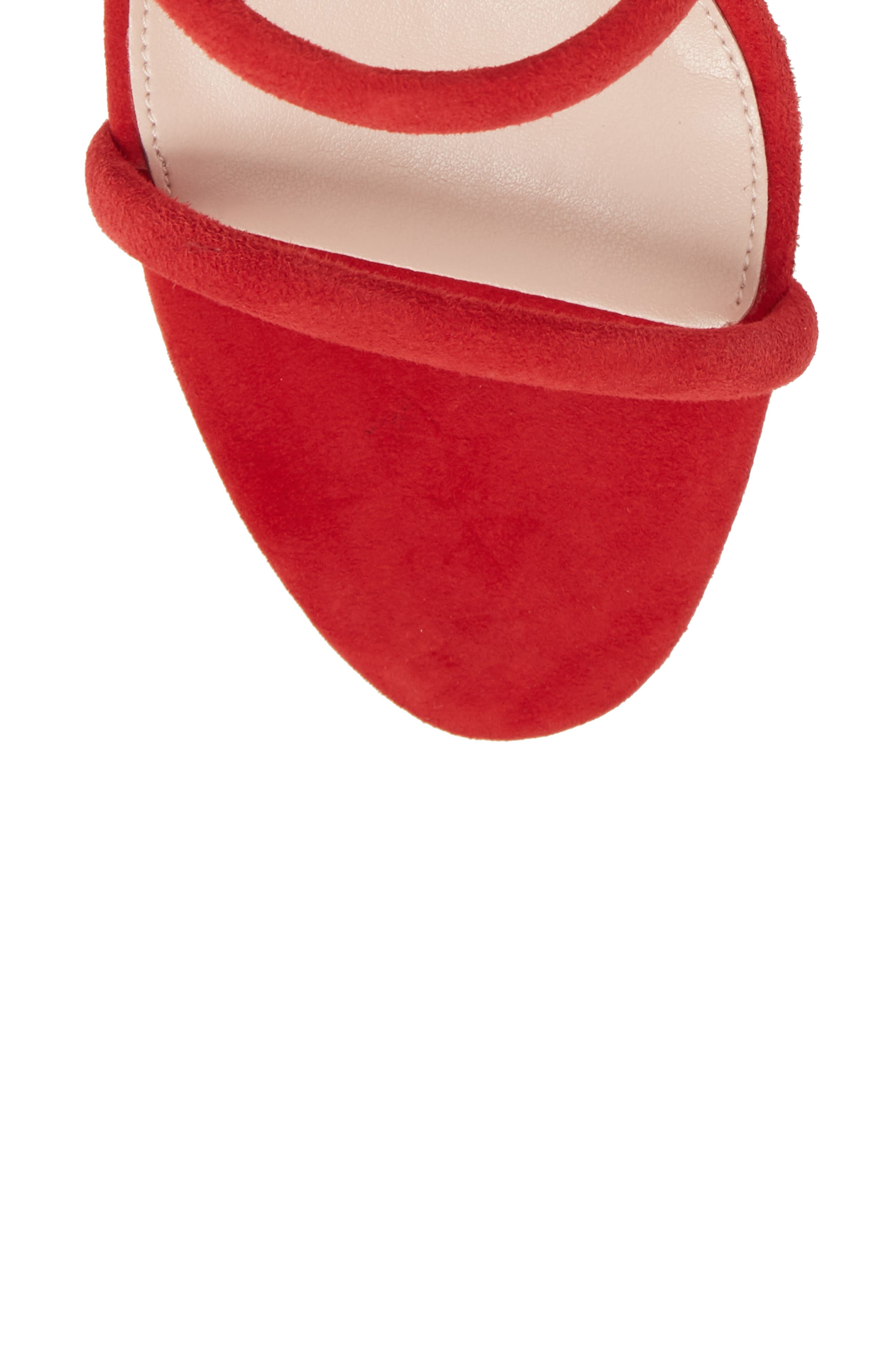 Joia Ankle Wrap Sandal,                             Alternate thumbnail 6, color,                             Rouge Suede
