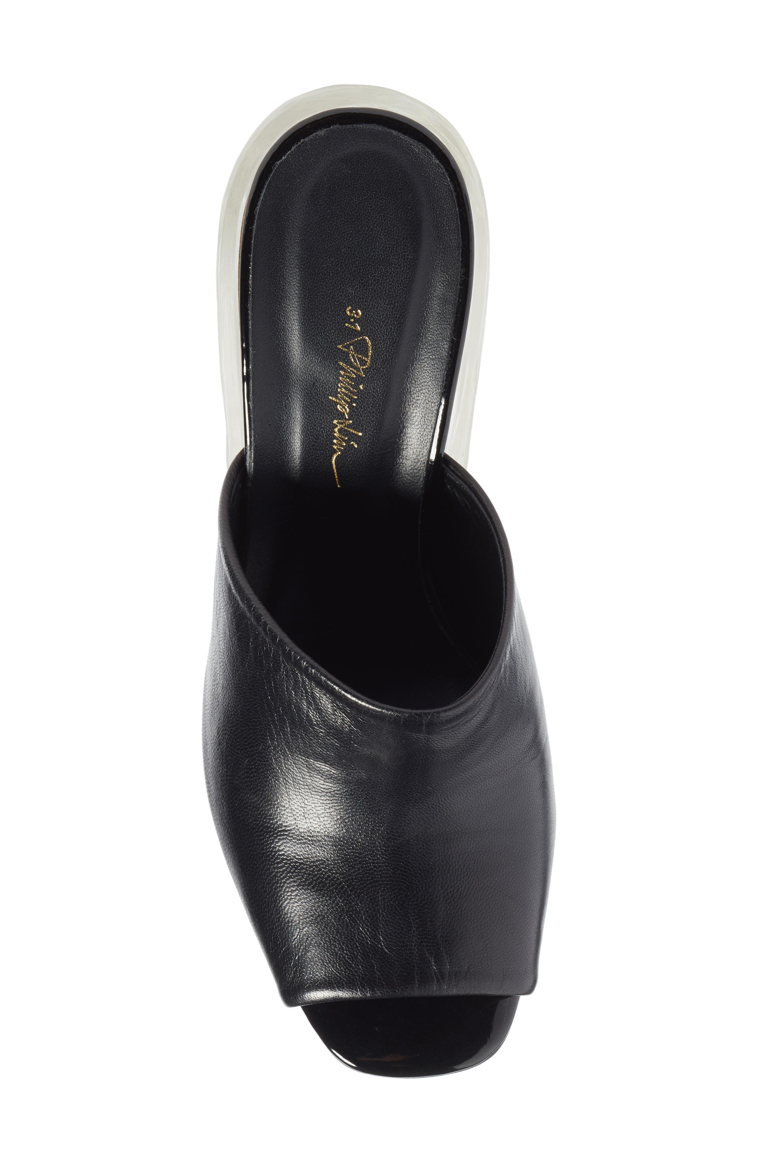 Transparent Wedge Slide Sandal,                             Alternate thumbnail 5, color,                             Black
