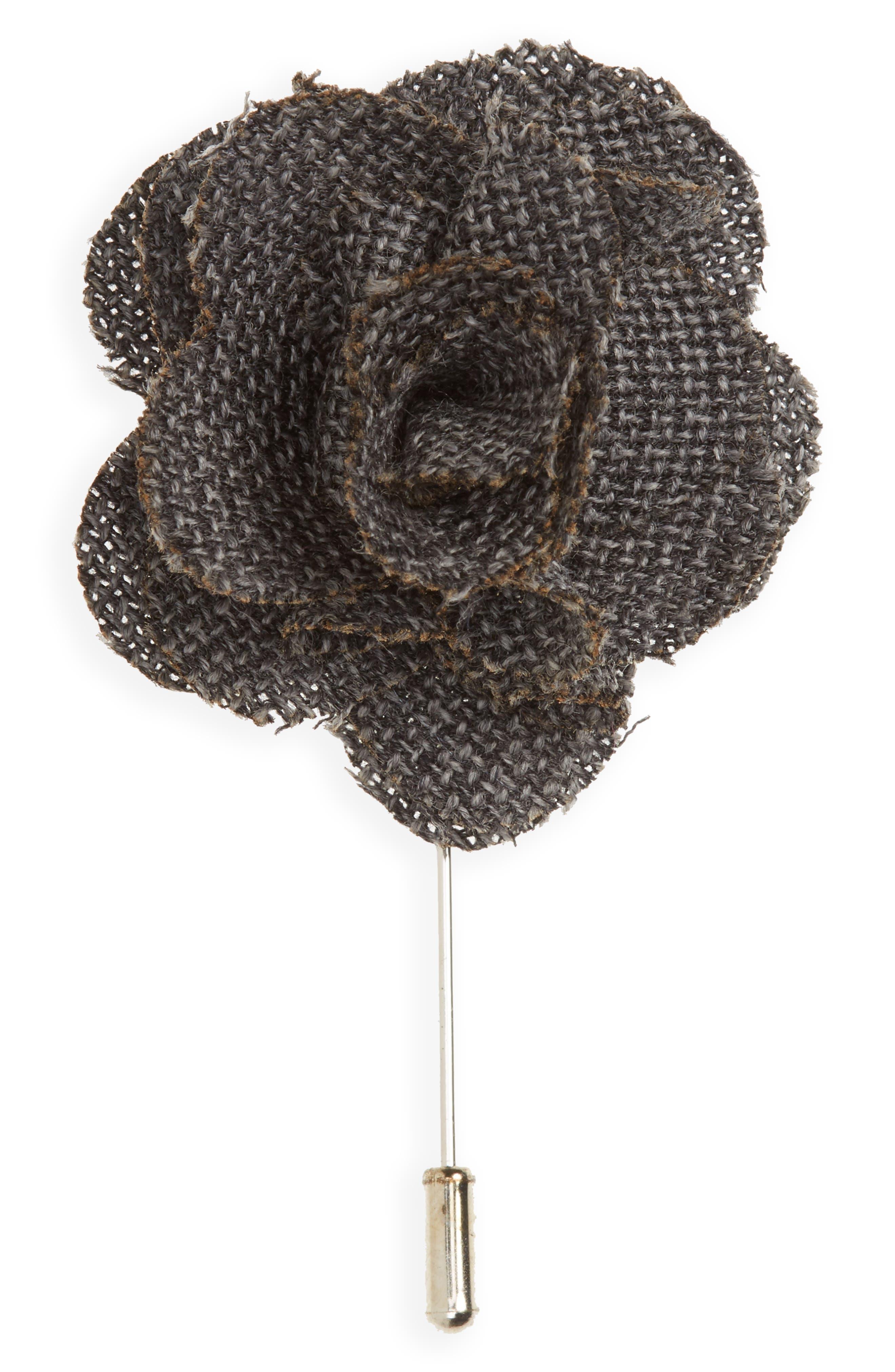 Wool Lapel Flower,                         Main,                         color, Grey
