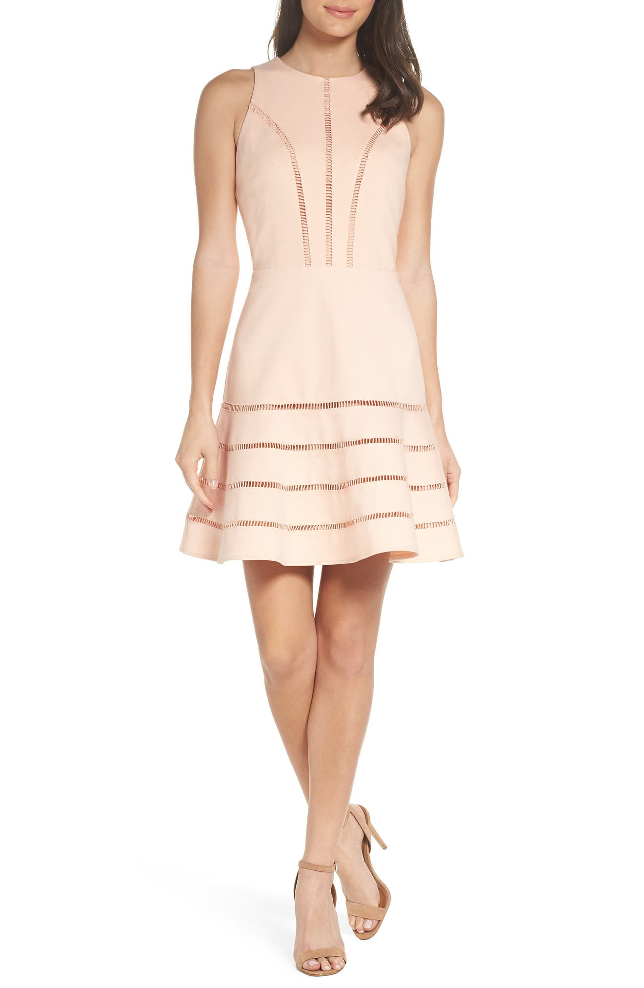 Peggy Fit & Flare Dress,                             Main thumbnail 1, color,                             Pink Sand