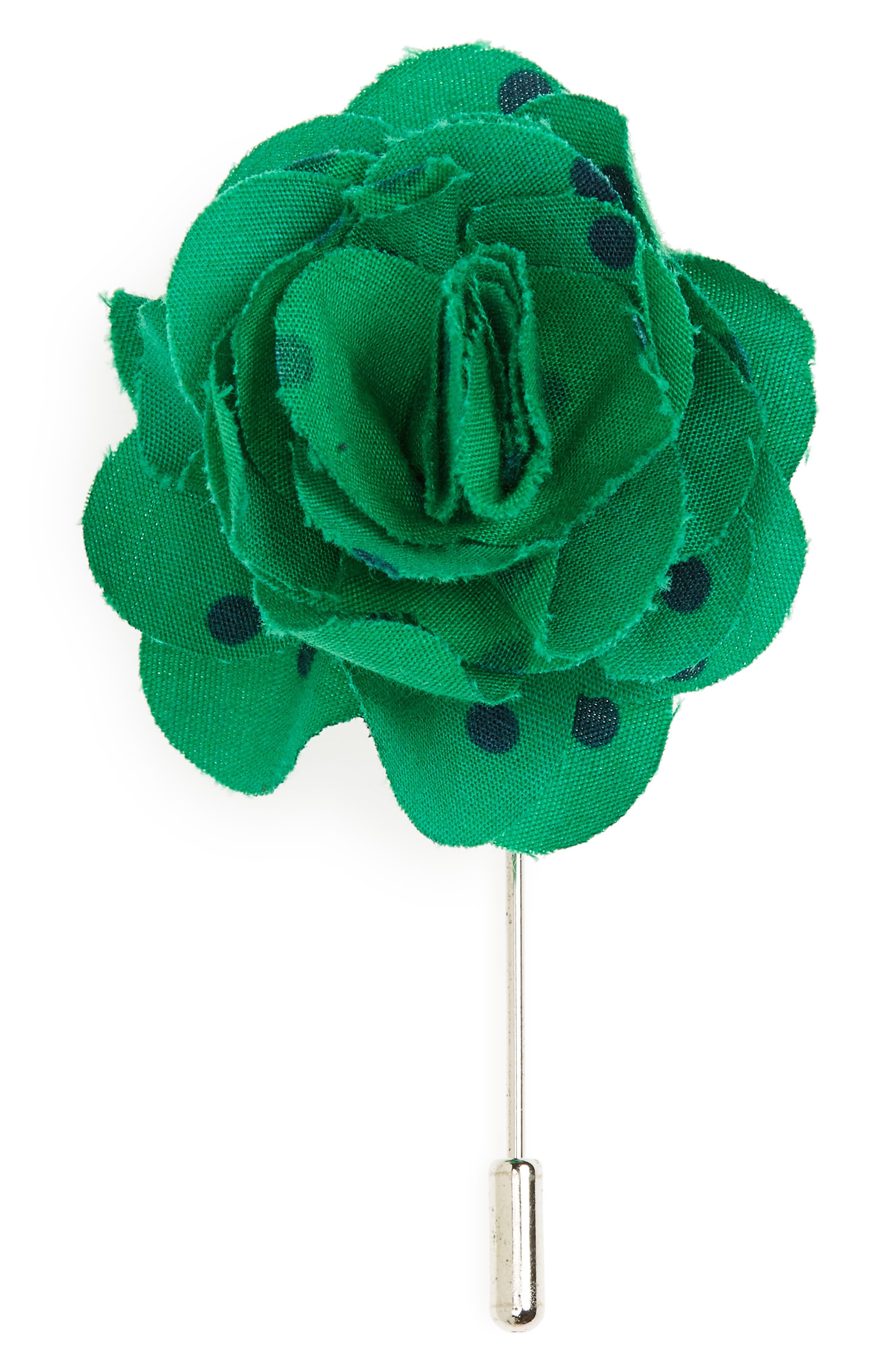 Dots Cotton Lapel Flower,                             Main thumbnail 1, color,                             Kelly Green