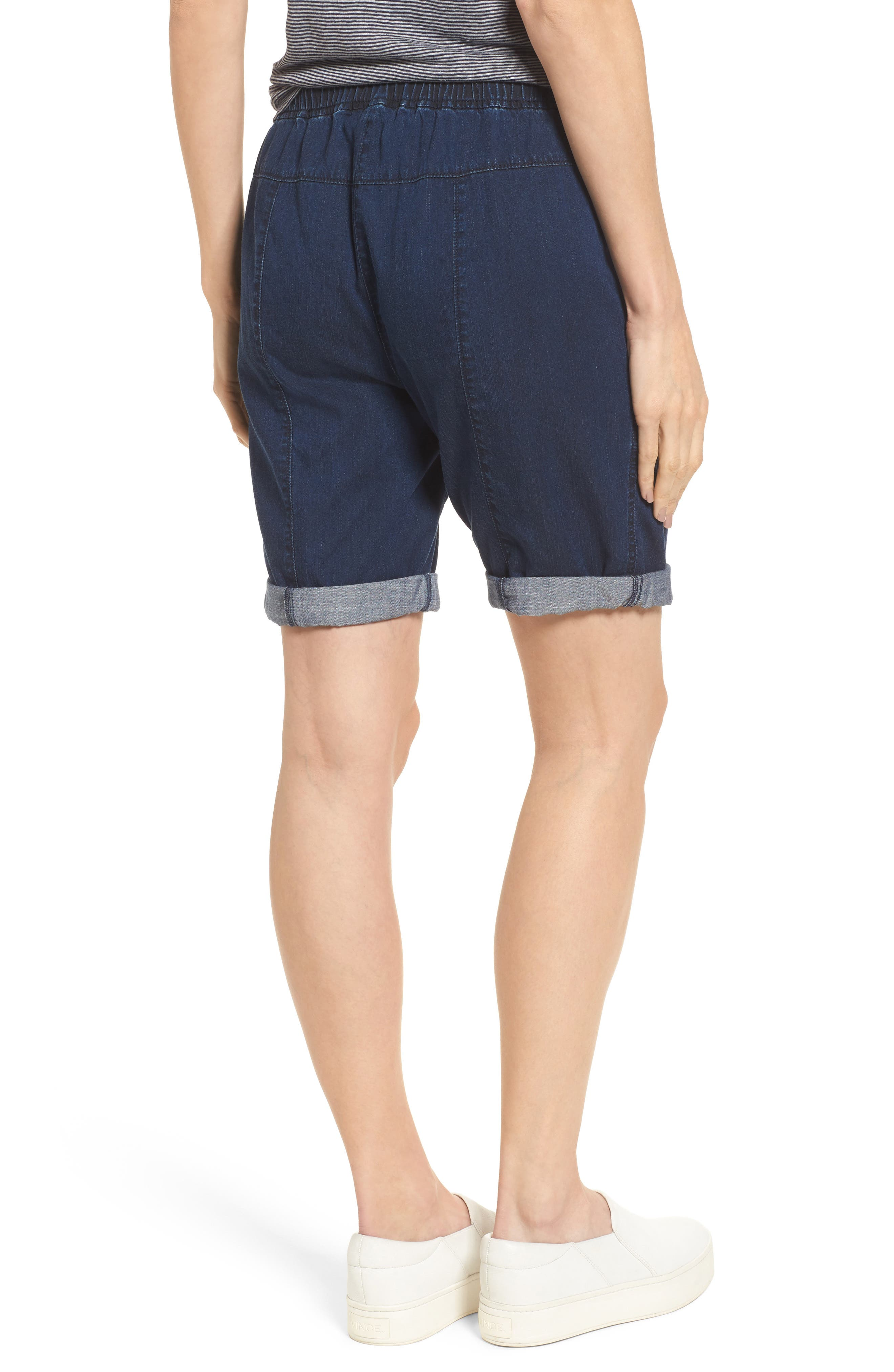 Tencel<sup>®</sup> Lyocell & Organic Cotton Walking Shorts,                             Alternate thumbnail 2, color,                             Midnight
