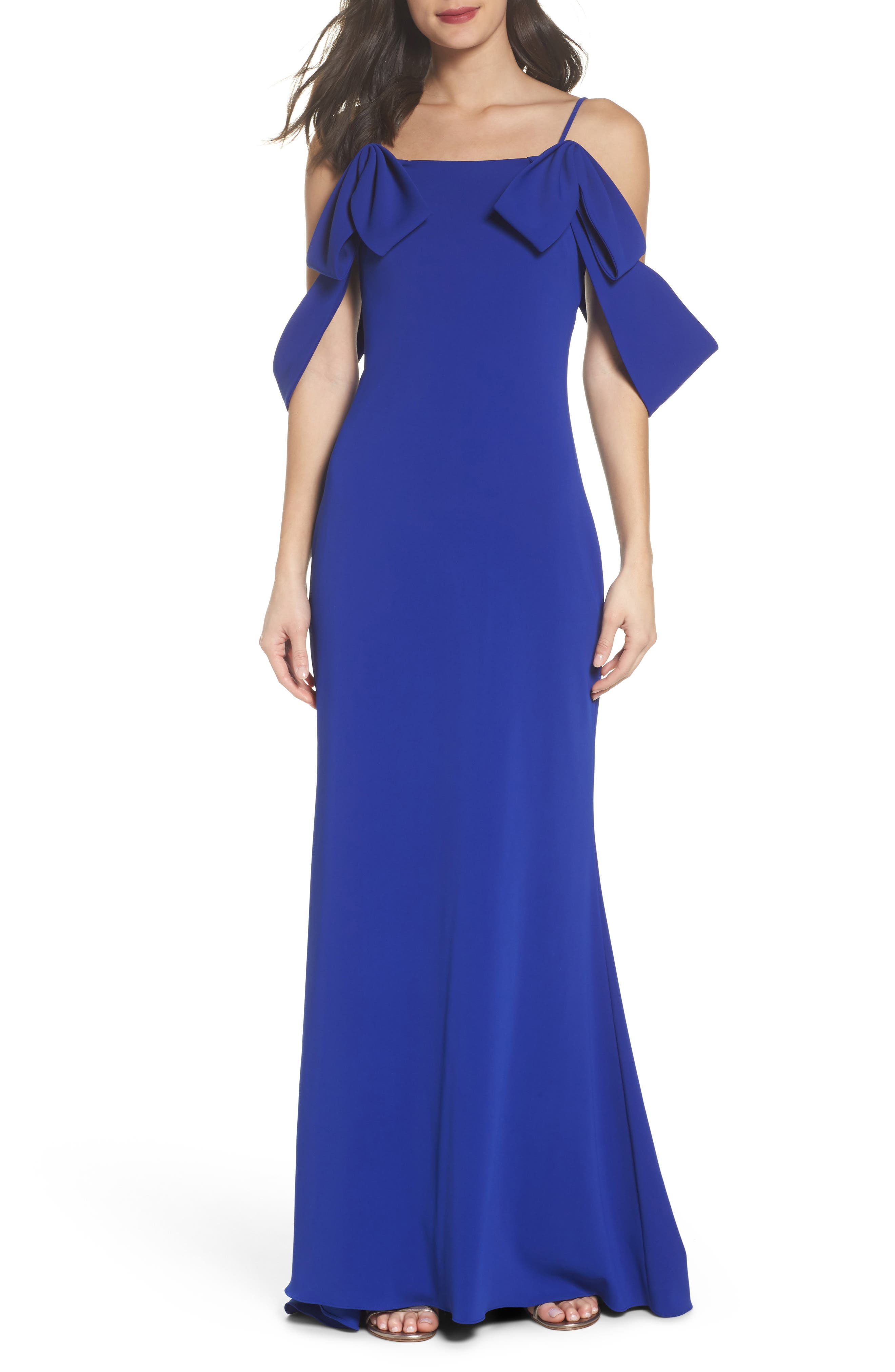 Badgley Mischka Ribbon Sleeve Cold Shoulder Gown