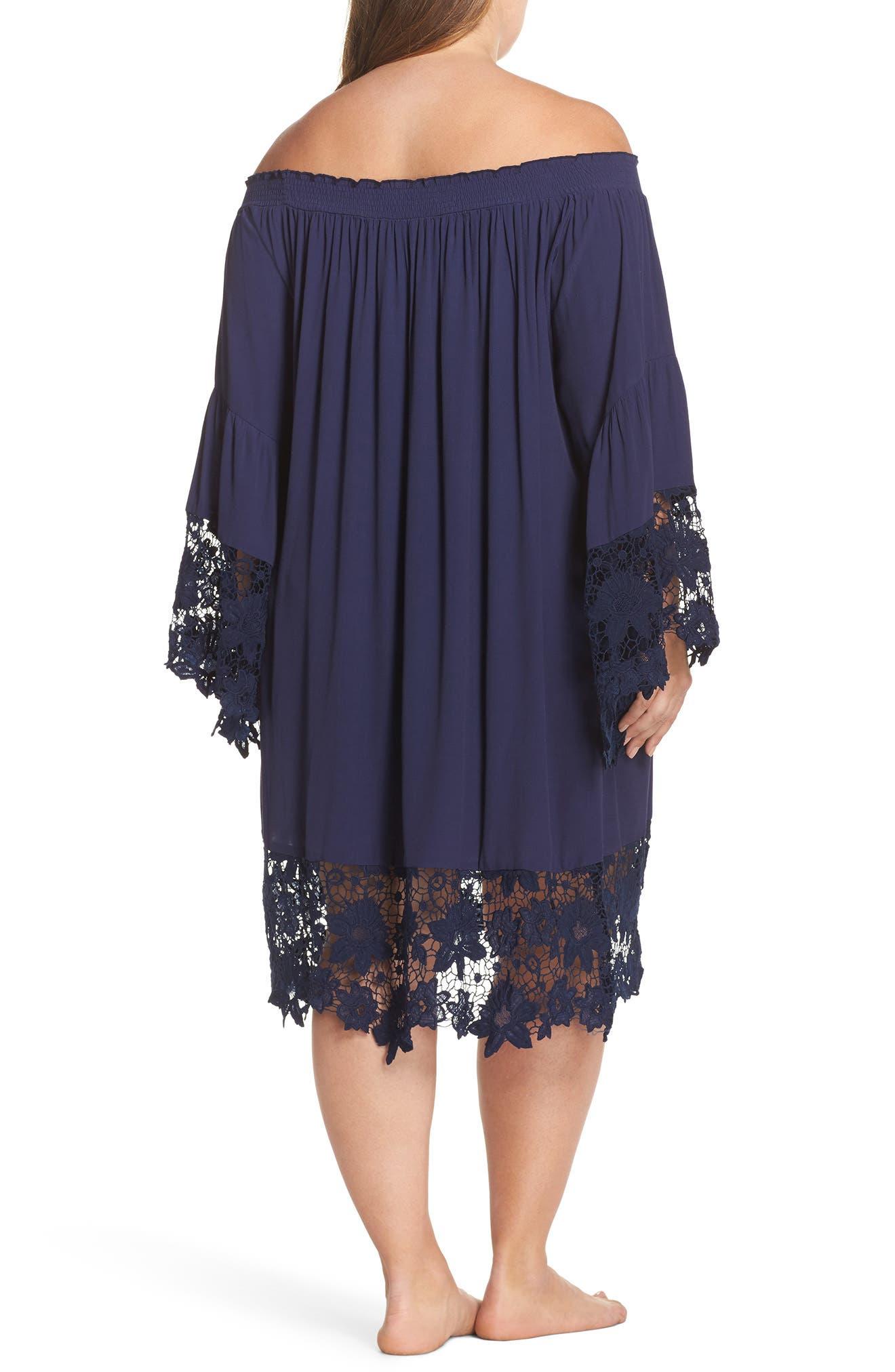 Alternate Image 2  - Muche et Muchette Jolie Lace Accent Cover-Up Dress (Plus-Size)
