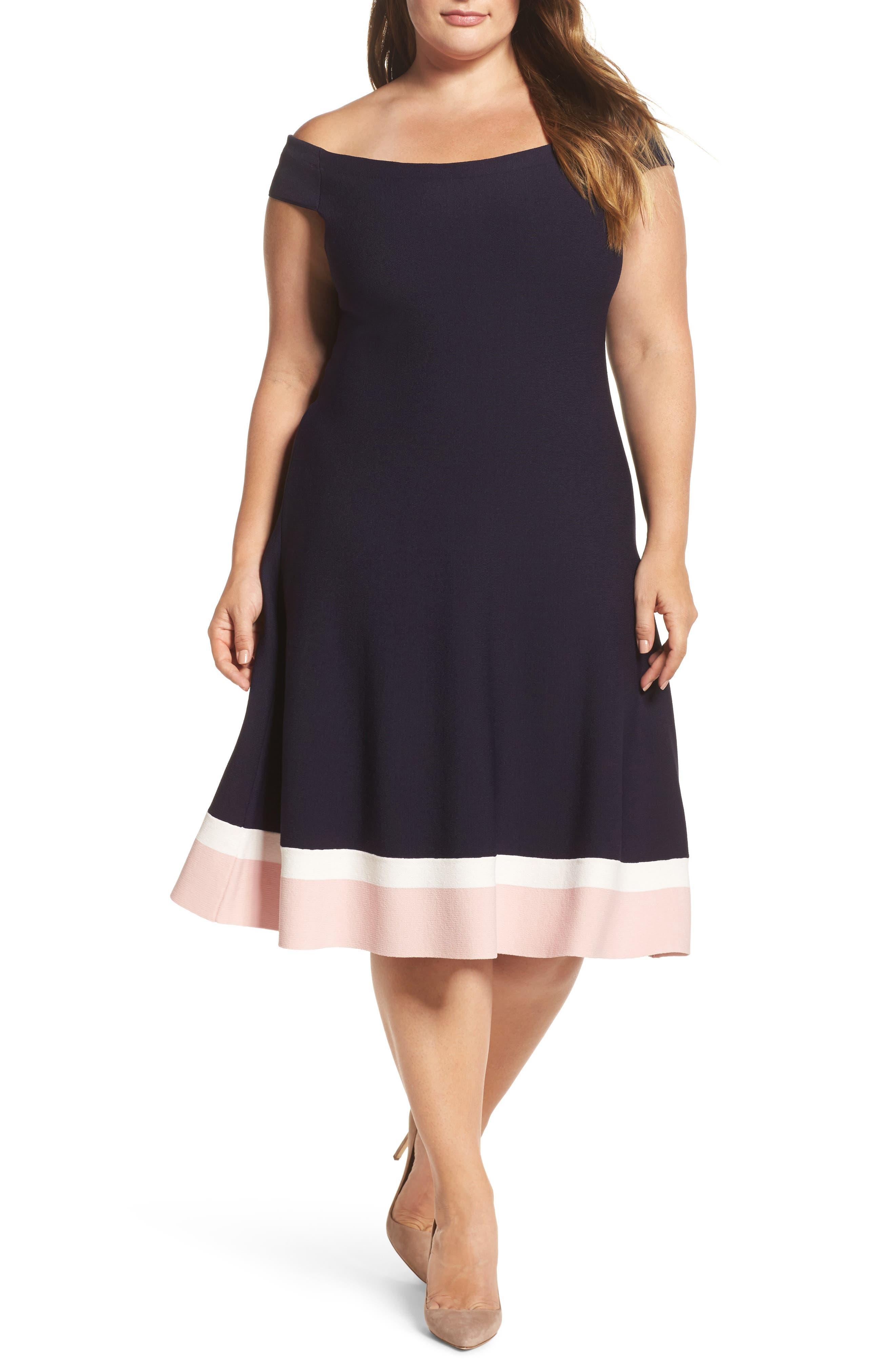 Main Image - Eliza J Off the Shoulder Fit & Flare Dress (Plus Size)