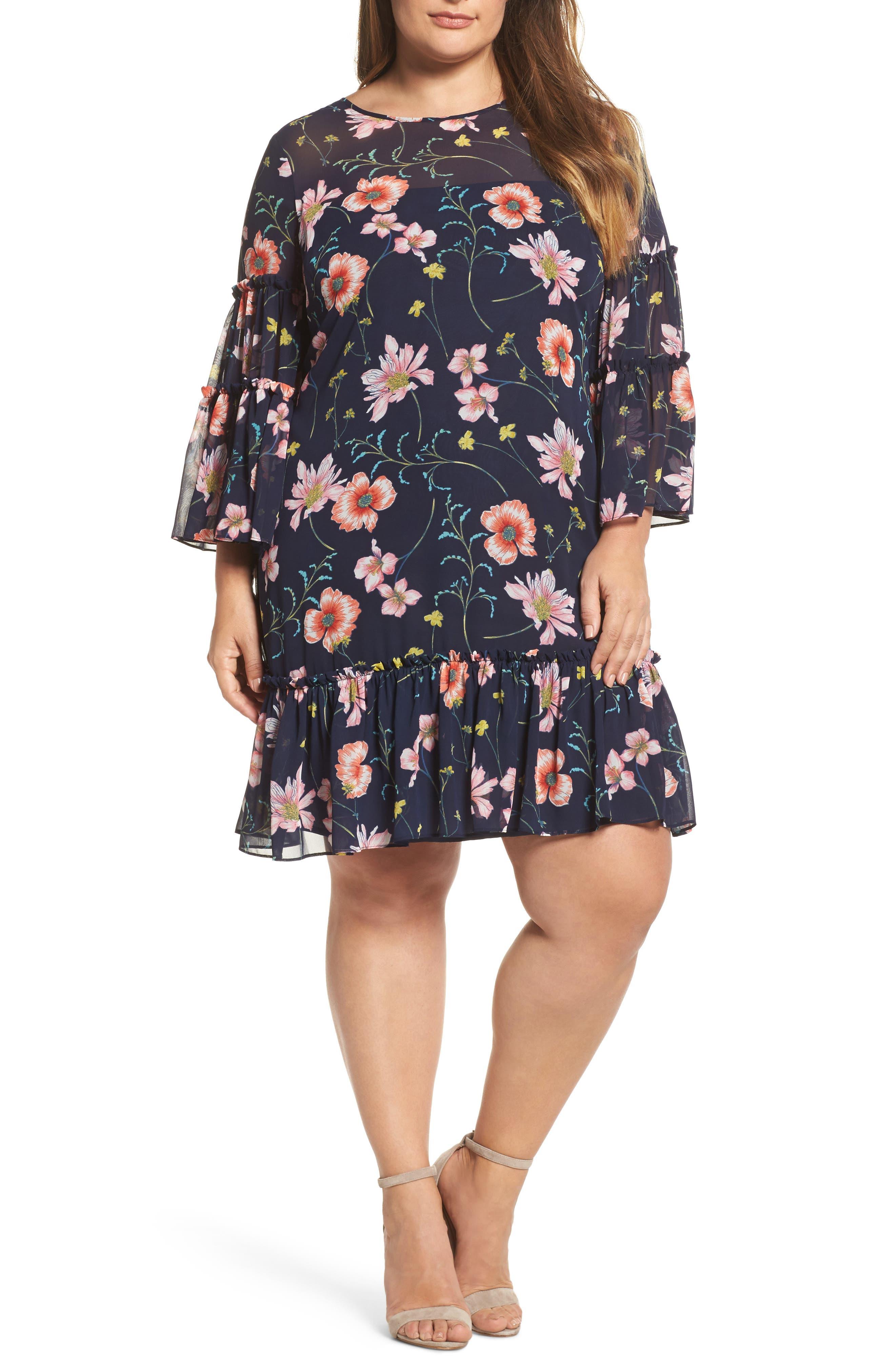 Floral Print Drop Waist Dress,                         Main,                         color, Navy
