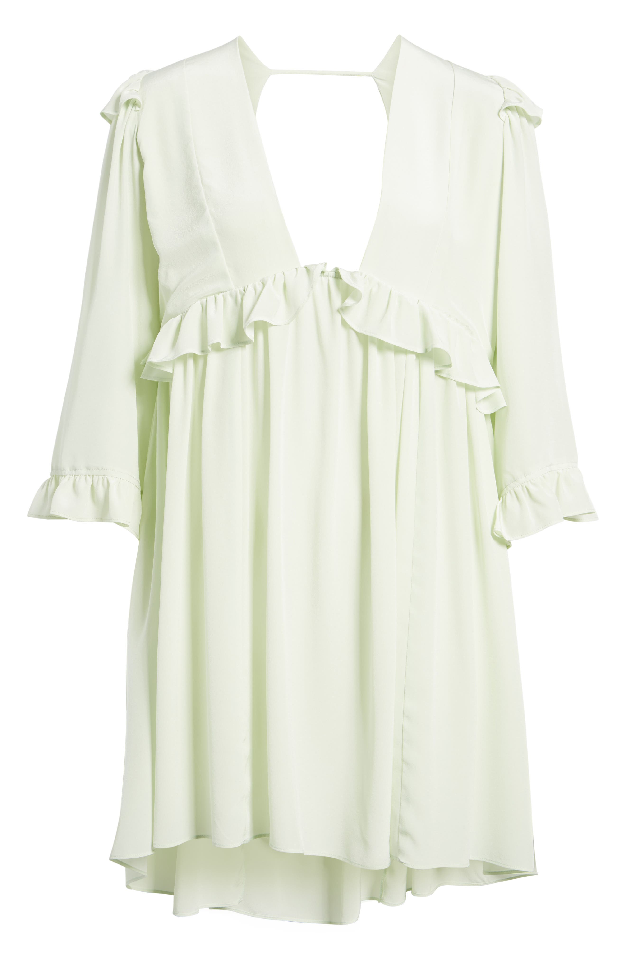 Angeles Babydoll Dress,                             Alternate thumbnail 6, color,                             Baby Green Silk