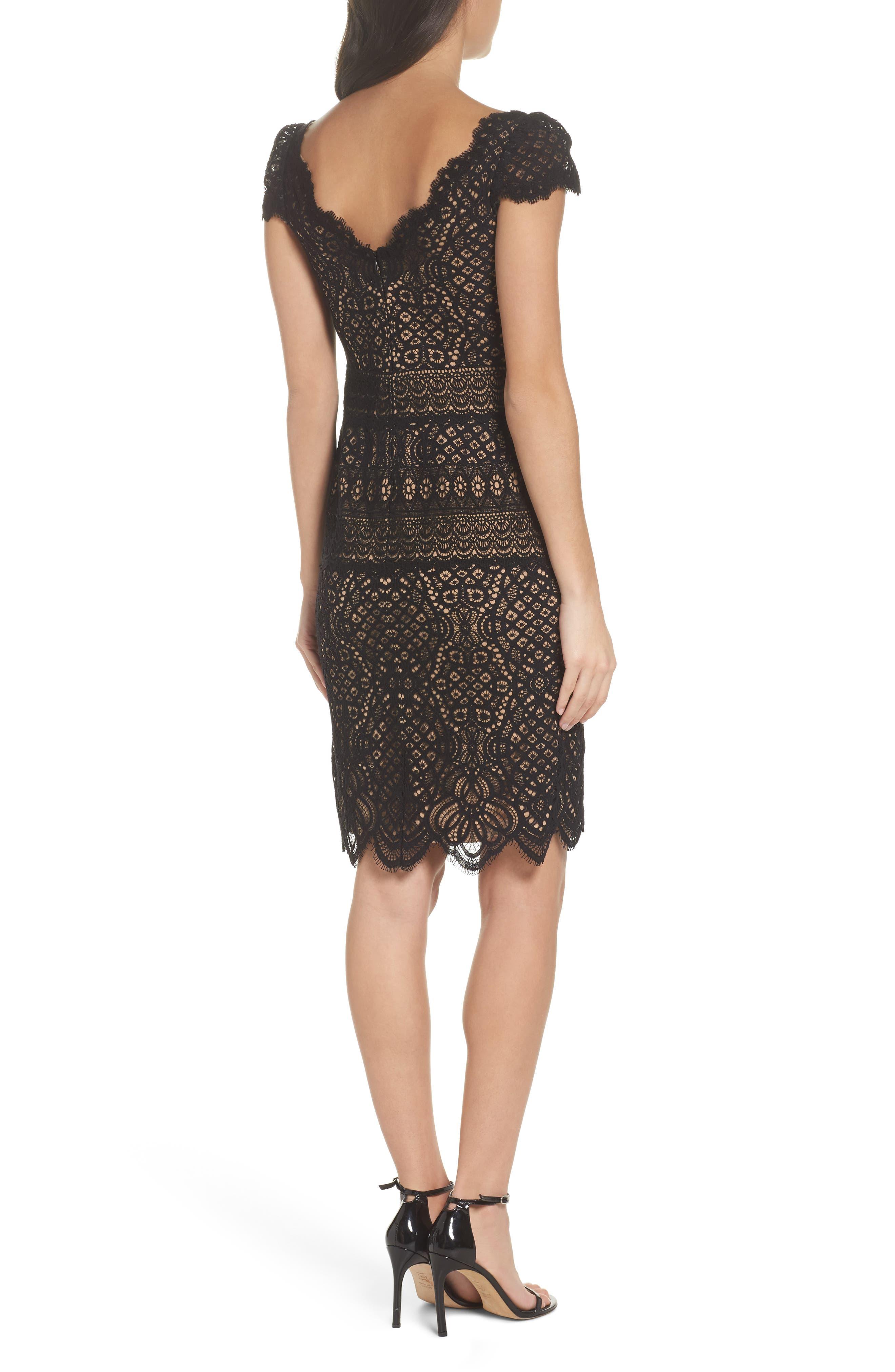 Lace Cap Sleeve Dress,                             Alternate thumbnail 2, color,                             Black / Nude