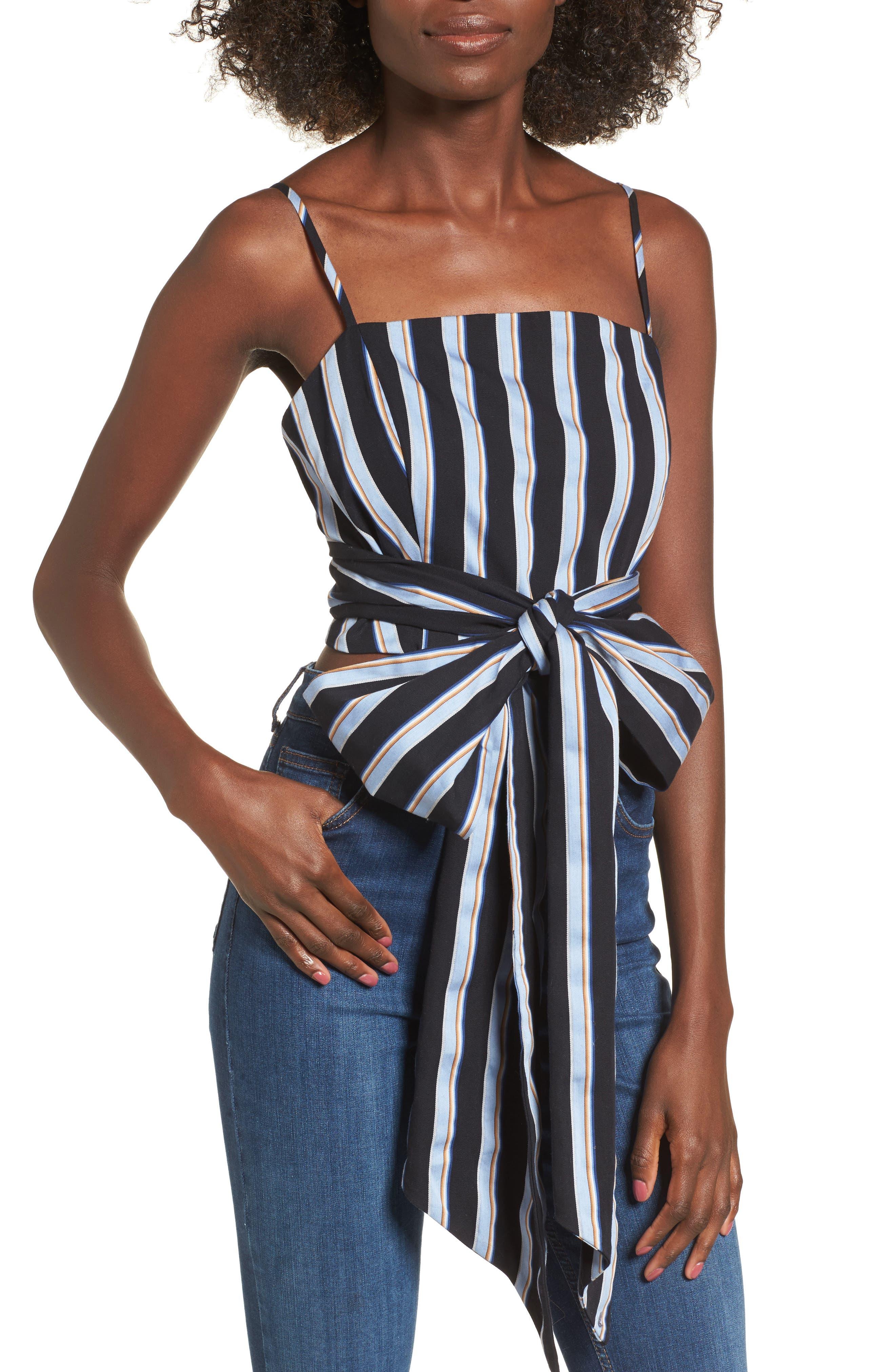 Kean Wrap Crop Top,                         Main,                         color, Blue Stripe
