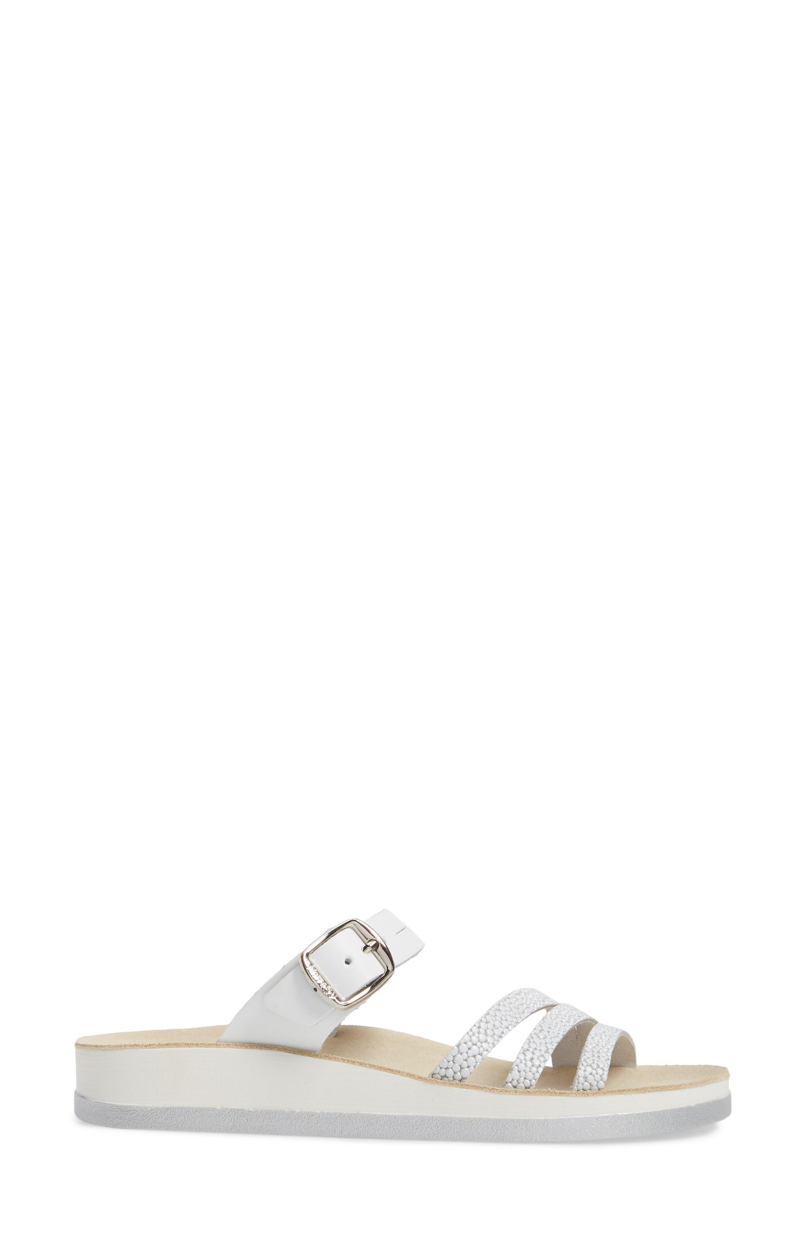 Lola Sandal,                             Alternate thumbnail 3, color,                             White/ Silver Leather