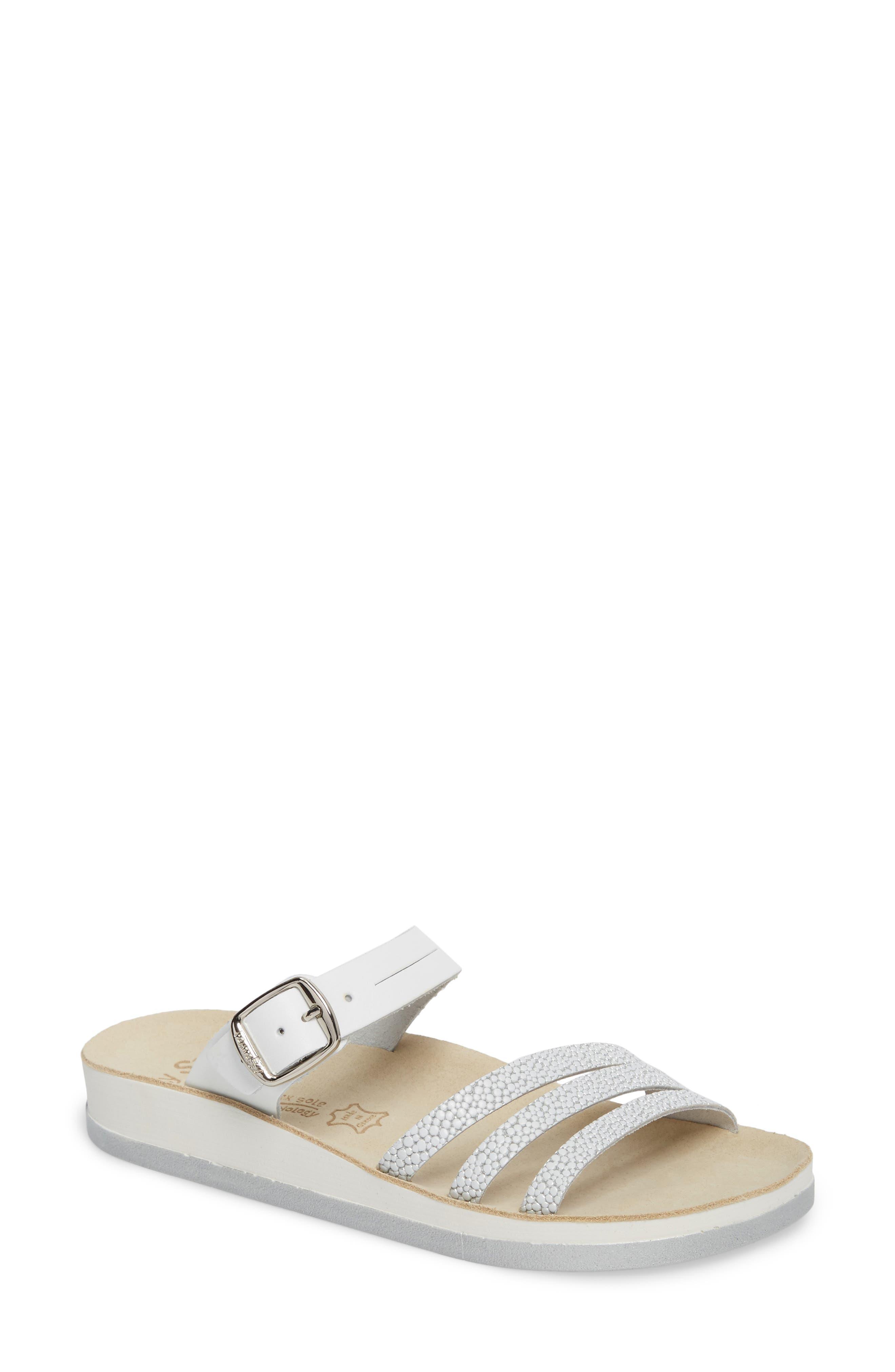 Lola Sandal,                             Main thumbnail 1, color,                             White/ Silver Leather