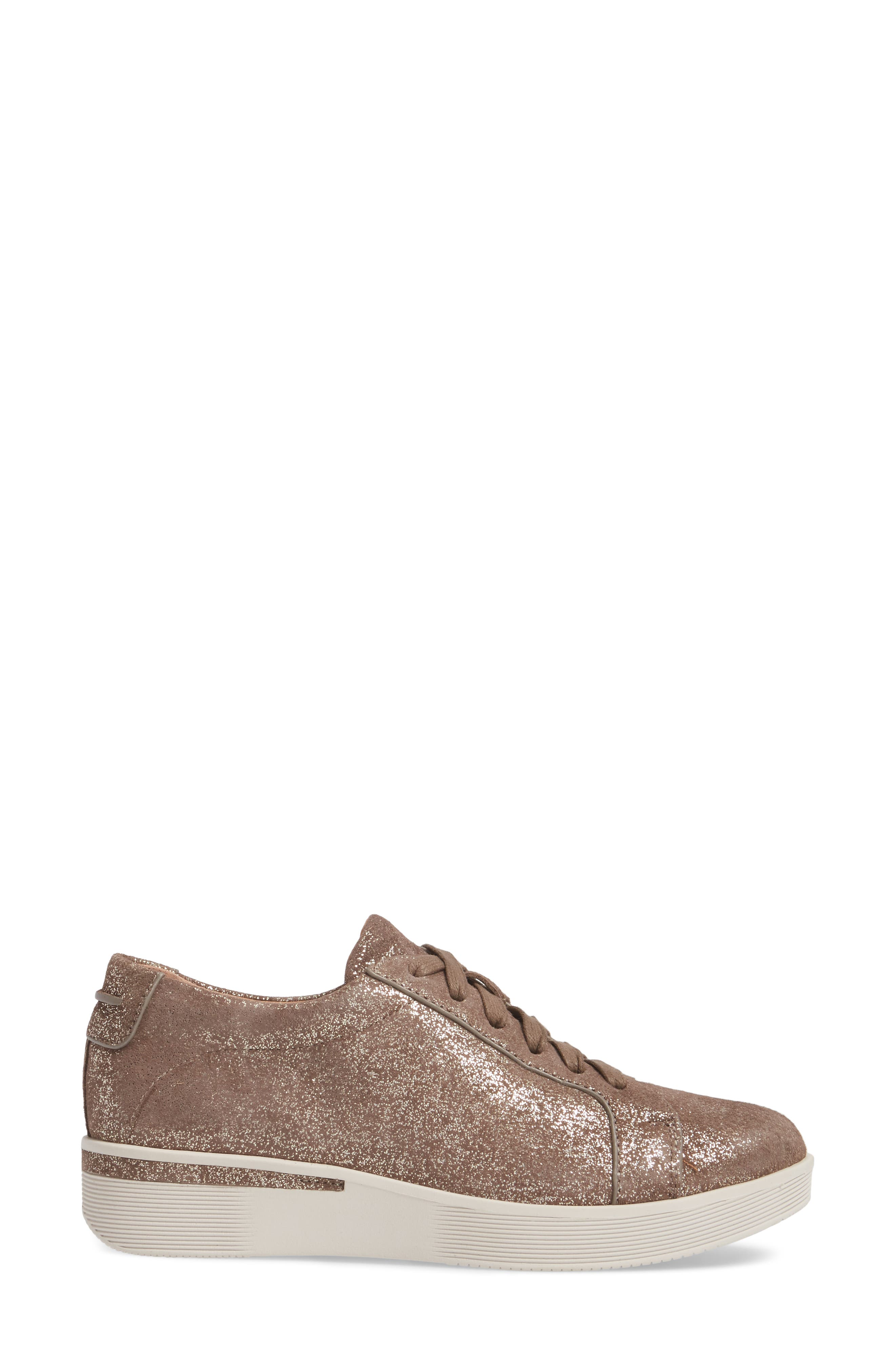 by Kenneth Cole Haddie Low Platform Sneaker,                             Alternate thumbnail 3, color,                             Cocoa Metallic Leather