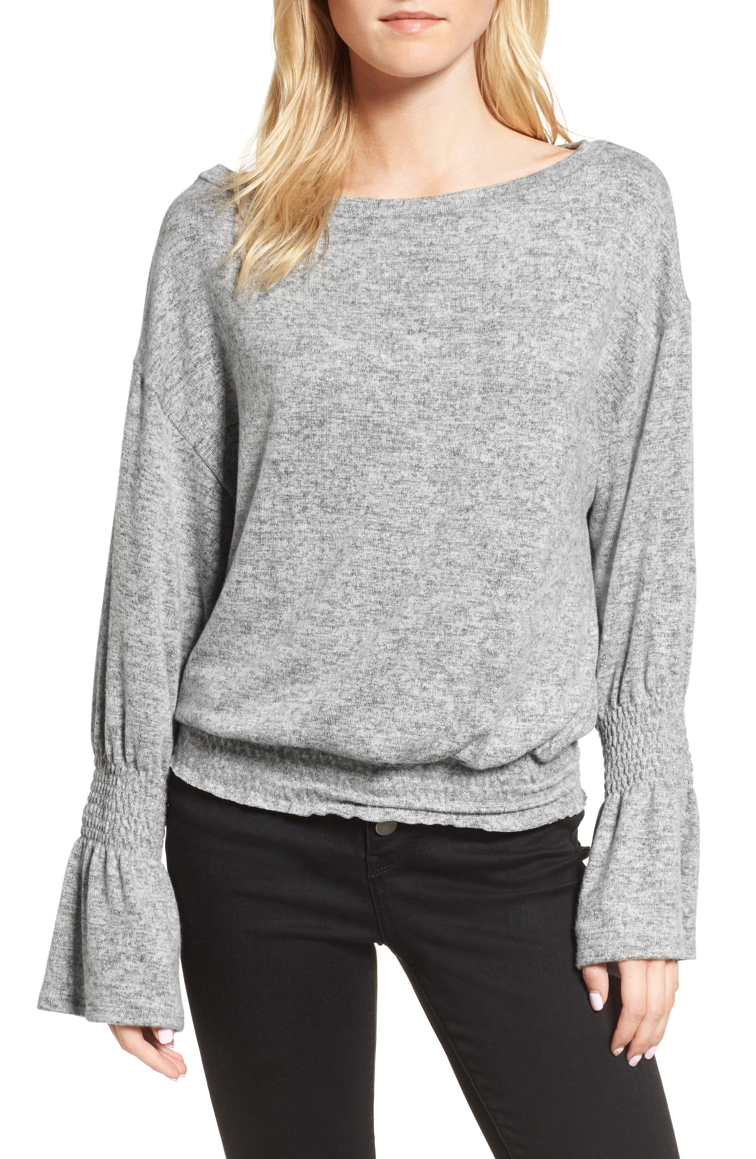 Brushed Smocked Sweatshirt,                             Main thumbnail 1, color,                             Grey Heather