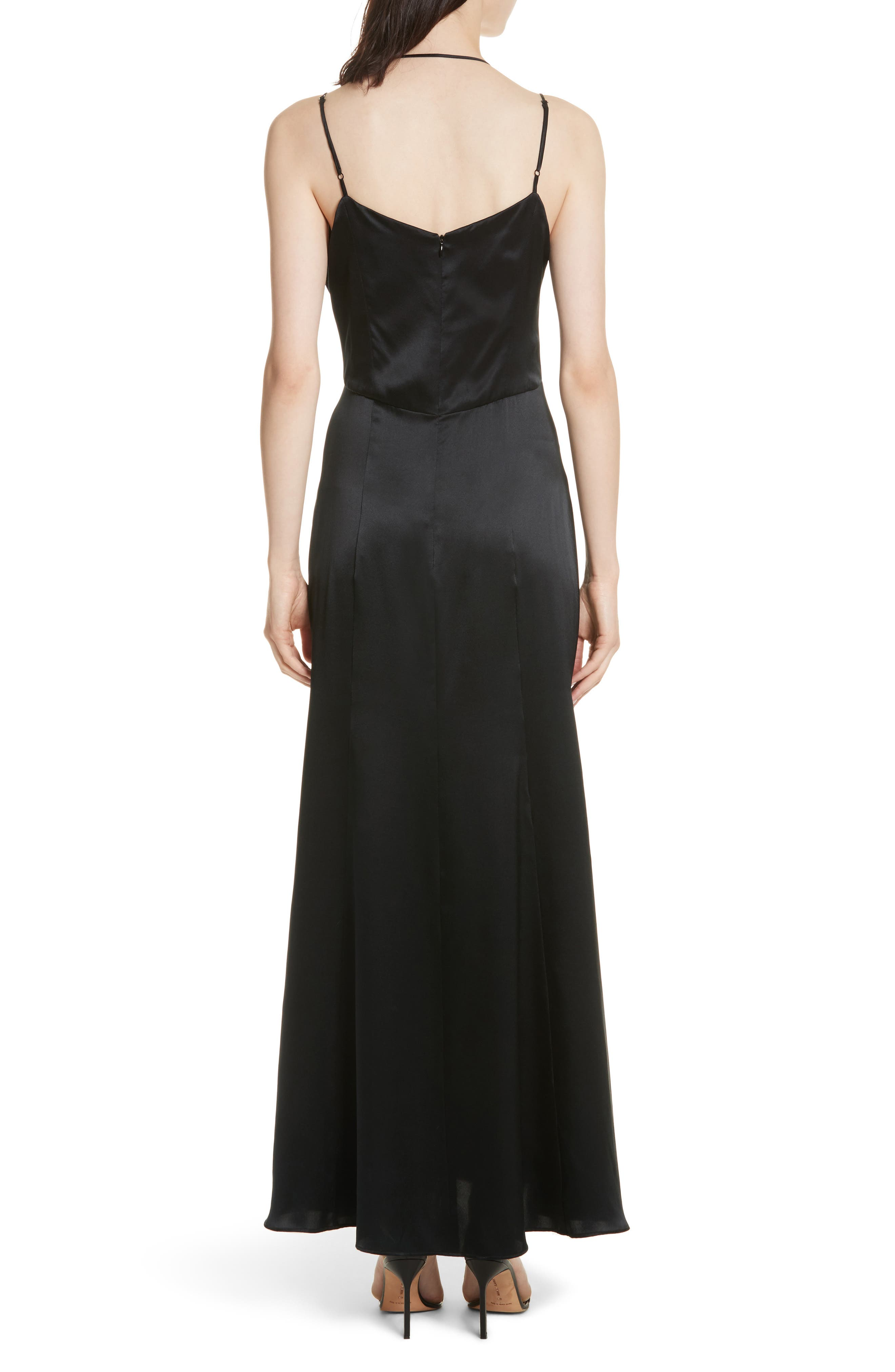 Octavia Strappy Silk Charmeuse Gown,                             Alternate thumbnail 2, color,                             Black