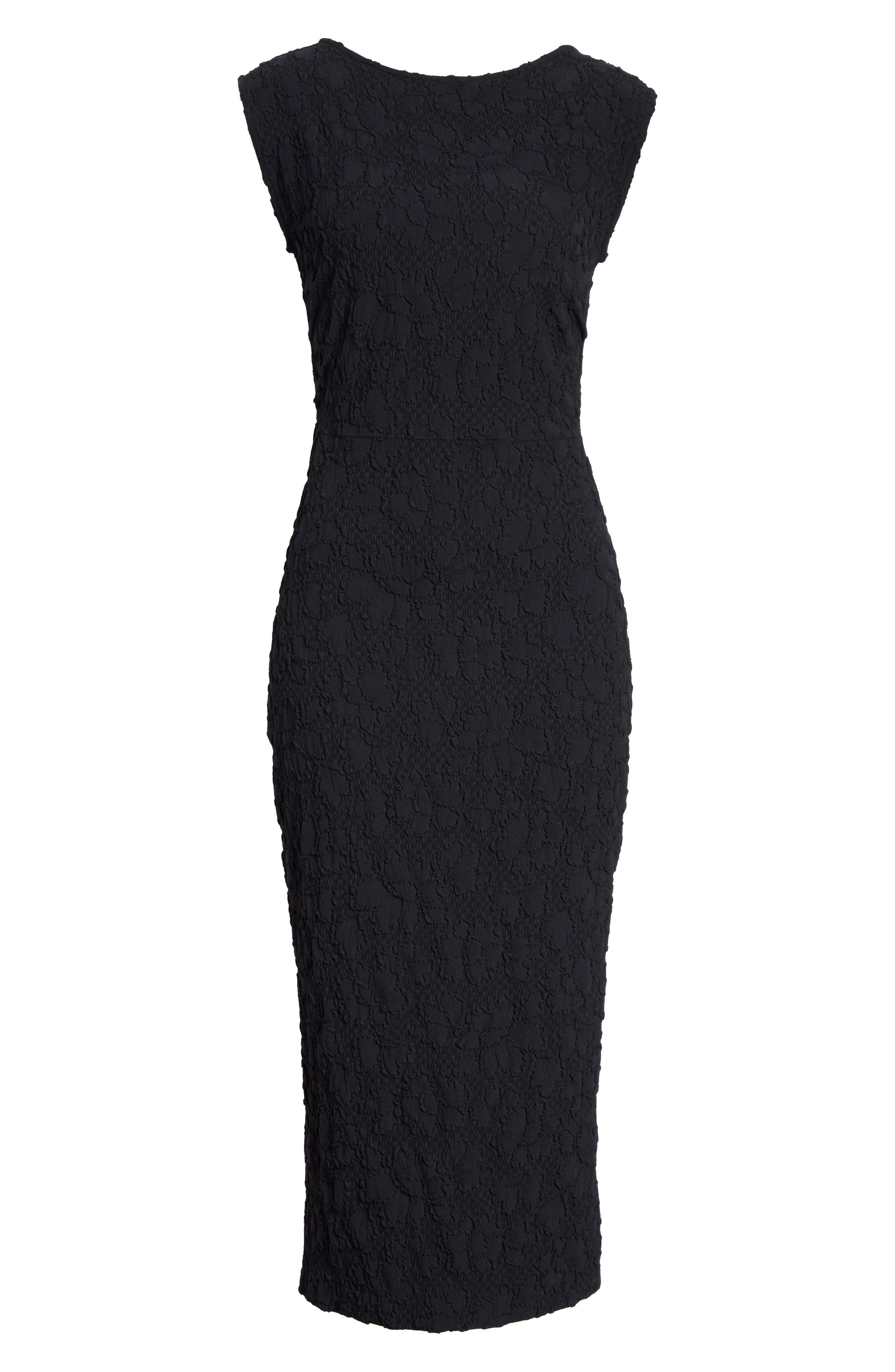 Medina Floral Jacquard Sheath Dress,                             Alternate thumbnail 6, color,                             Black