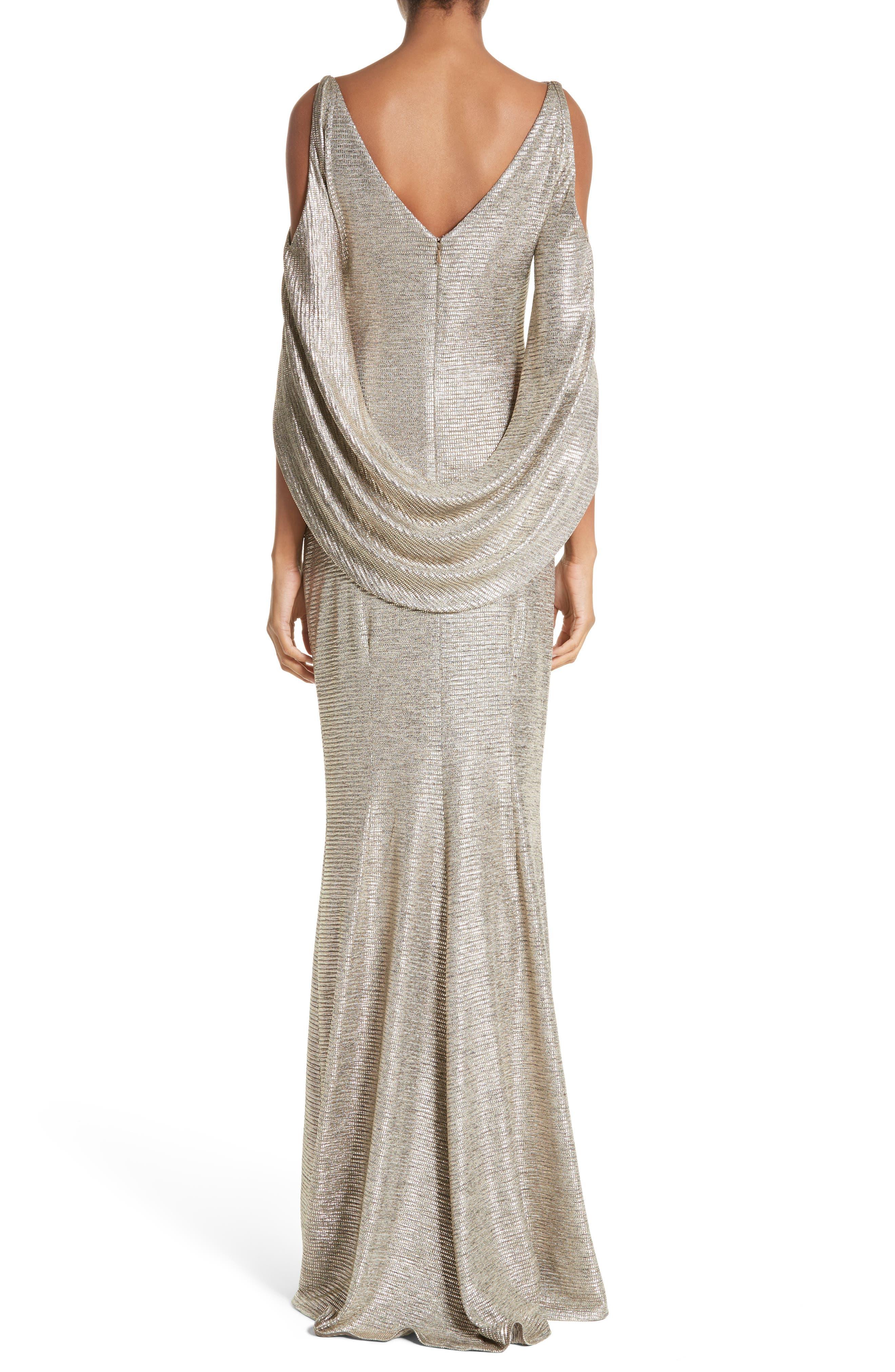 Cold Shoulder Drape Back Gown,                             Alternate thumbnail 2, color,                             Gold