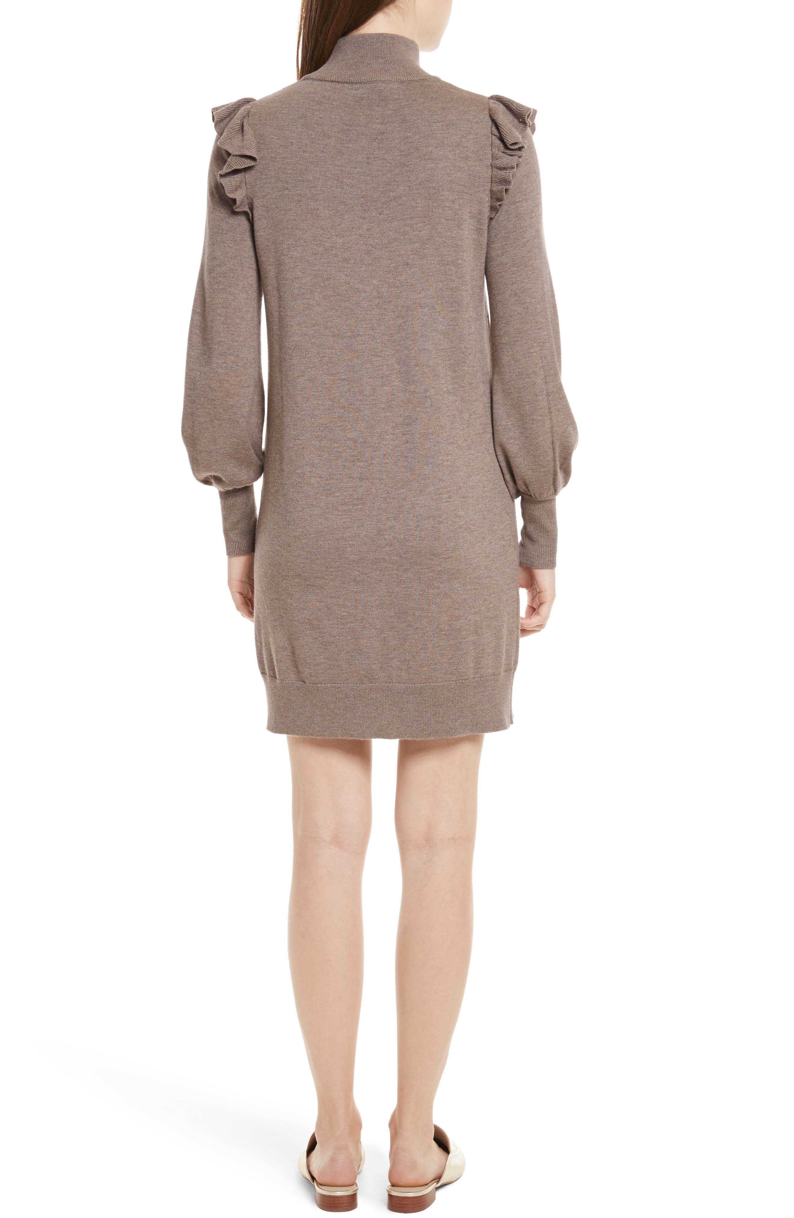 Catriona Wool & Silk Sweater Dress,                             Alternate thumbnail 2, color,                             Heather Mushroom