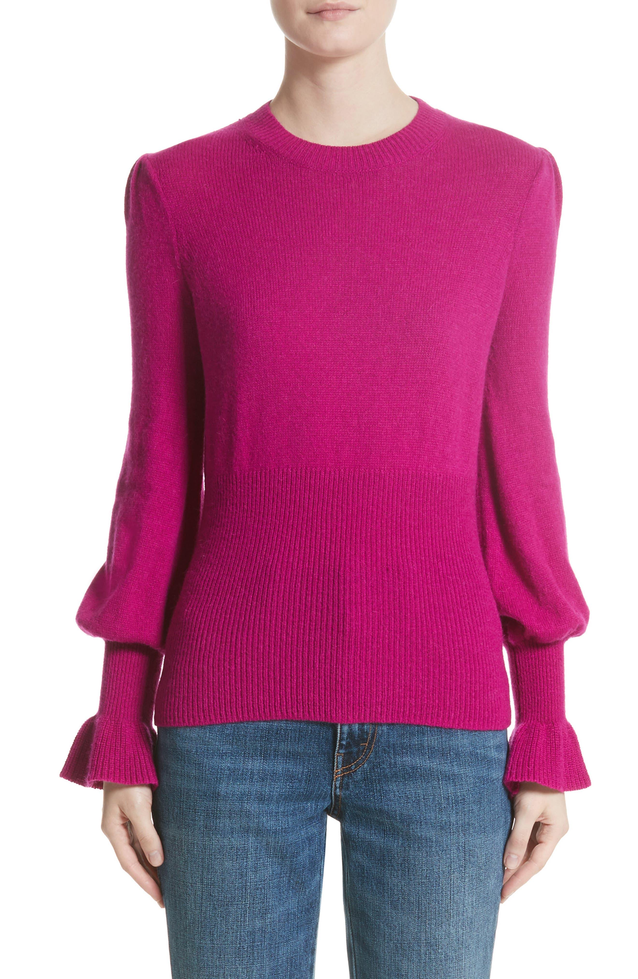 Flare Cuff Alpaca Blend Sweater,                         Main,                         color, Magenta
