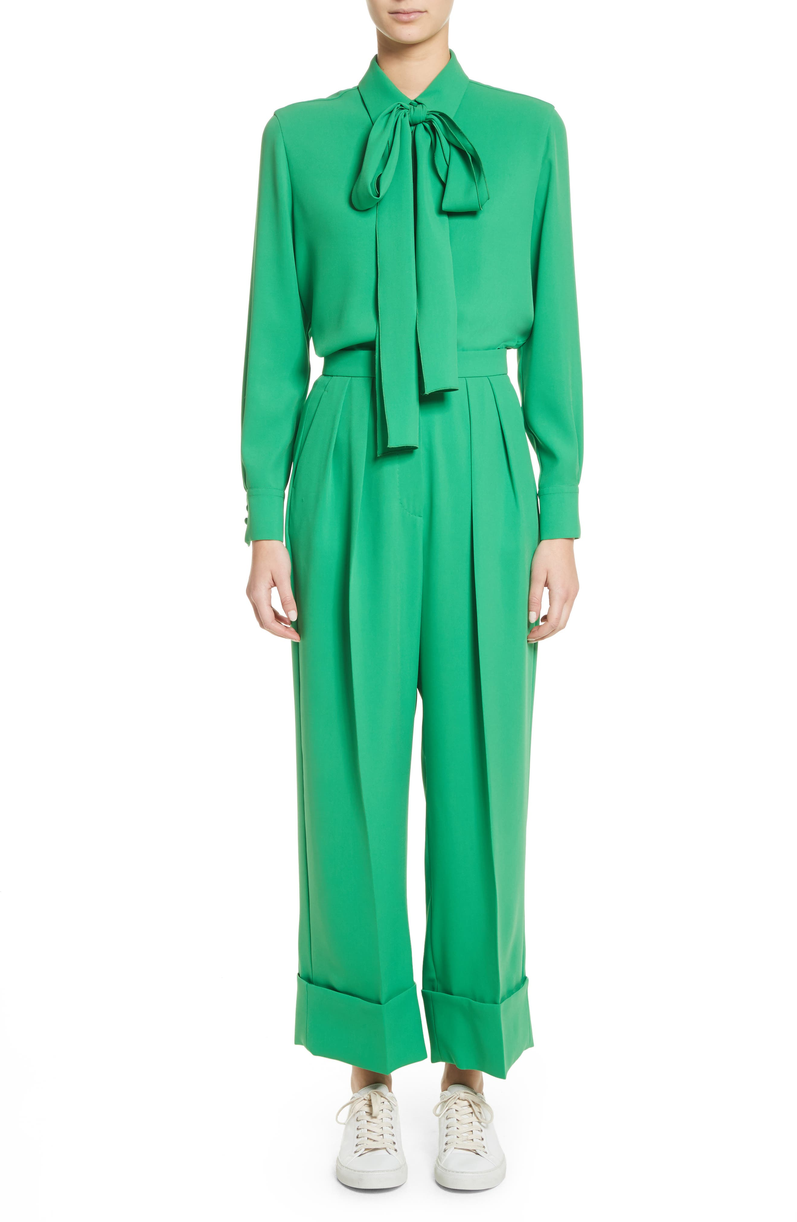 High Waist Crop Pants,                             Alternate thumbnail 8, color,                             Green