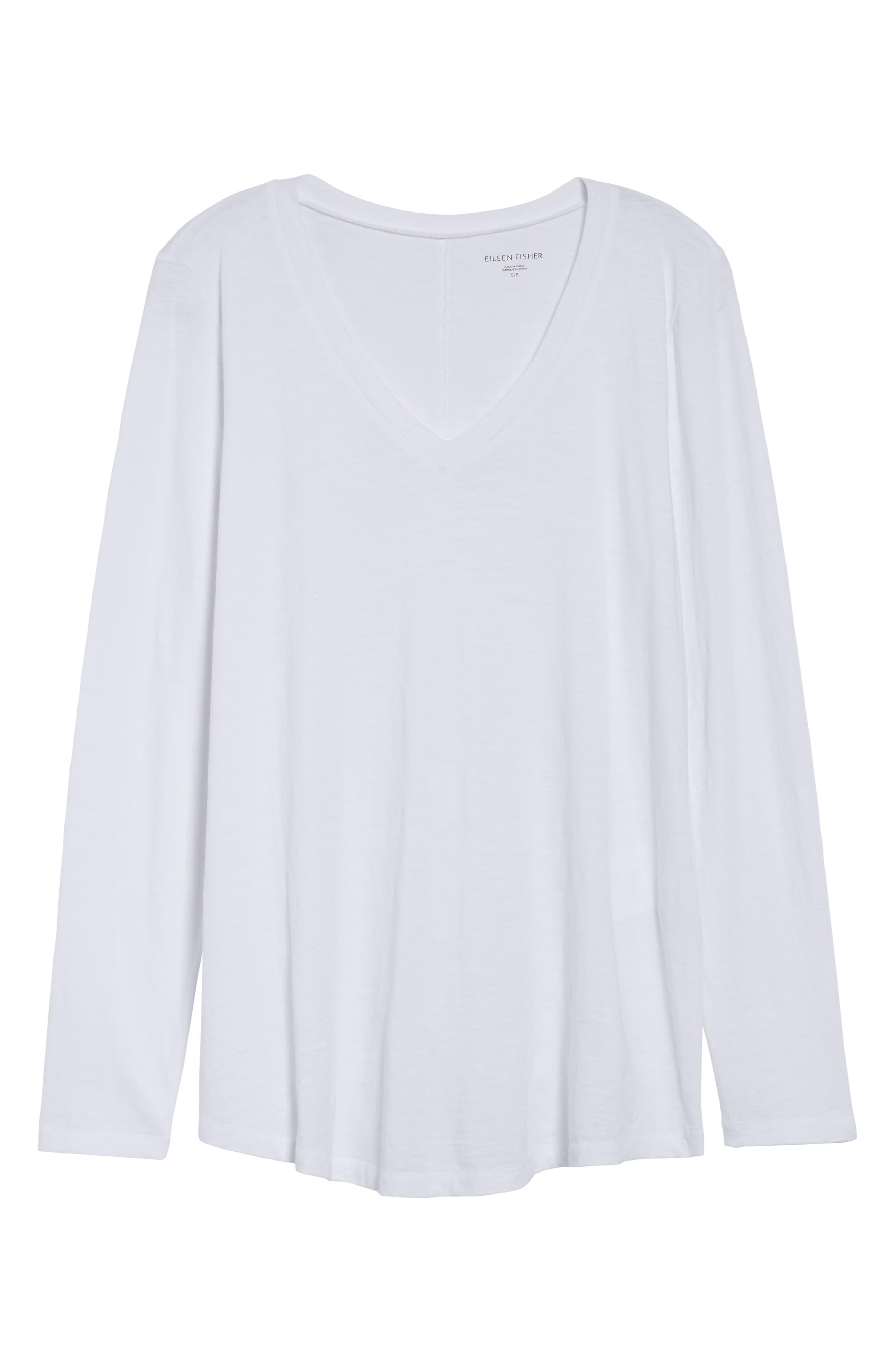 Organic Cotton V-Neck Tee,                             Alternate thumbnail 6, color,                             White