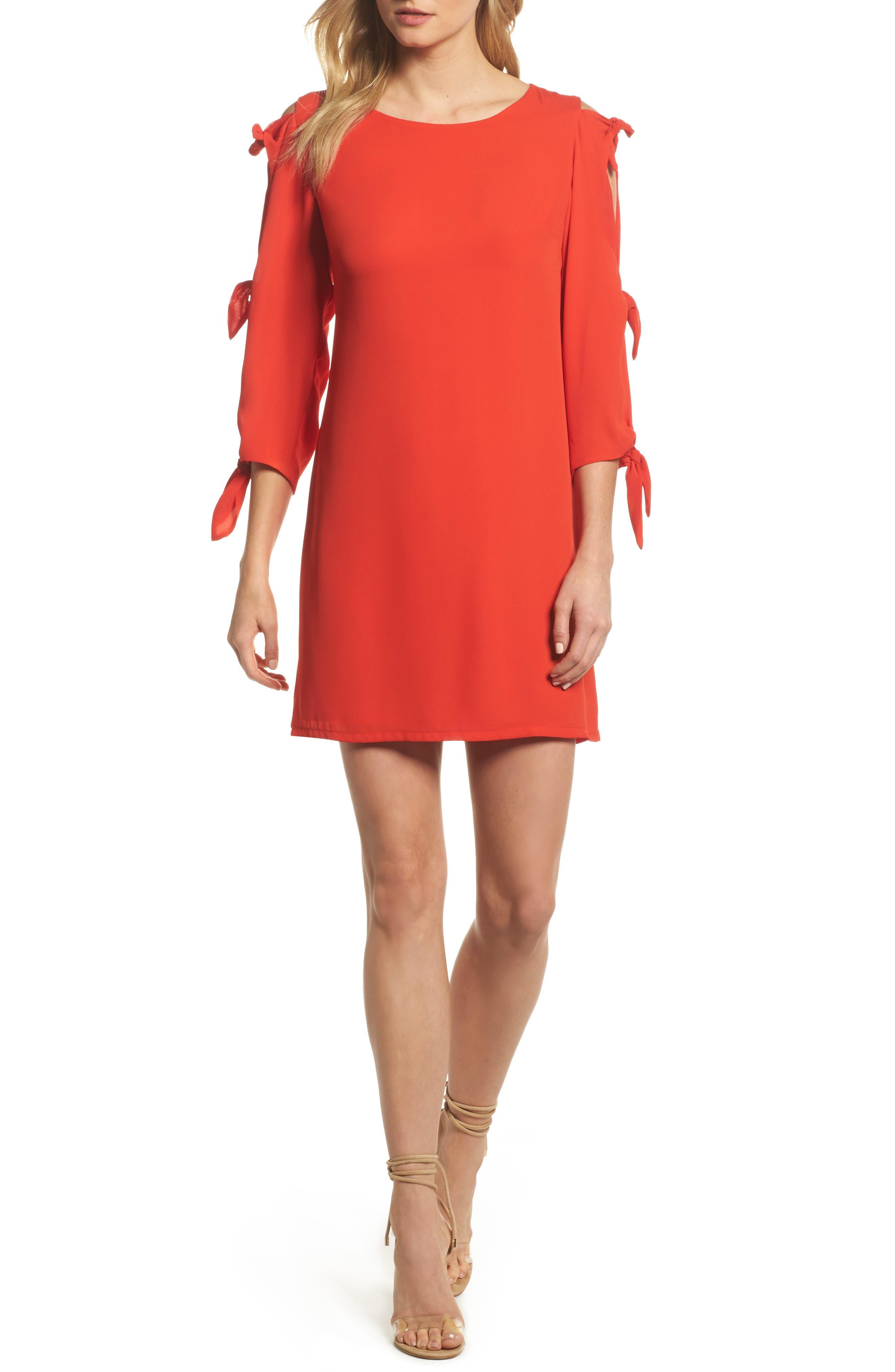Bow Sleeve Shift Dress,                         Main,                         color, Scarlet